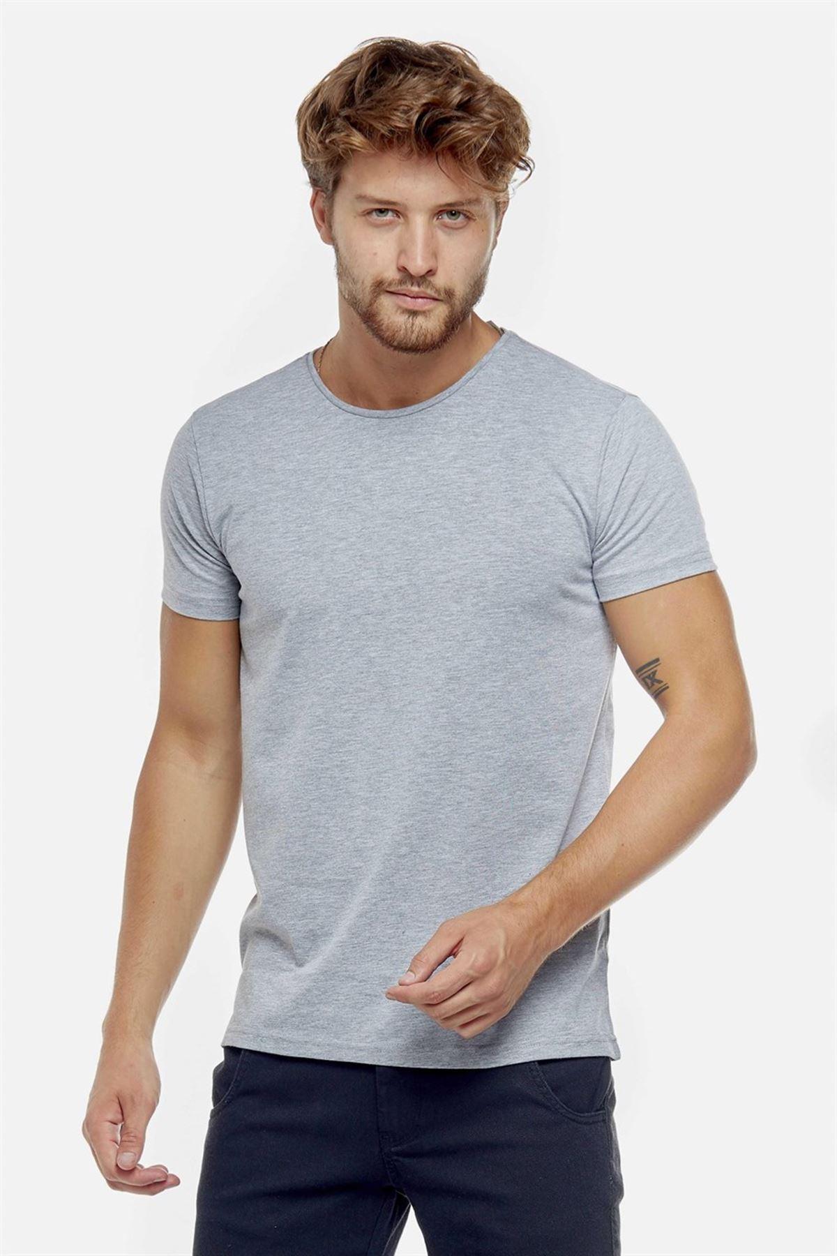 Erkek Gri Bisiklet Yaka Basic Body Düz Tişört Tshirt