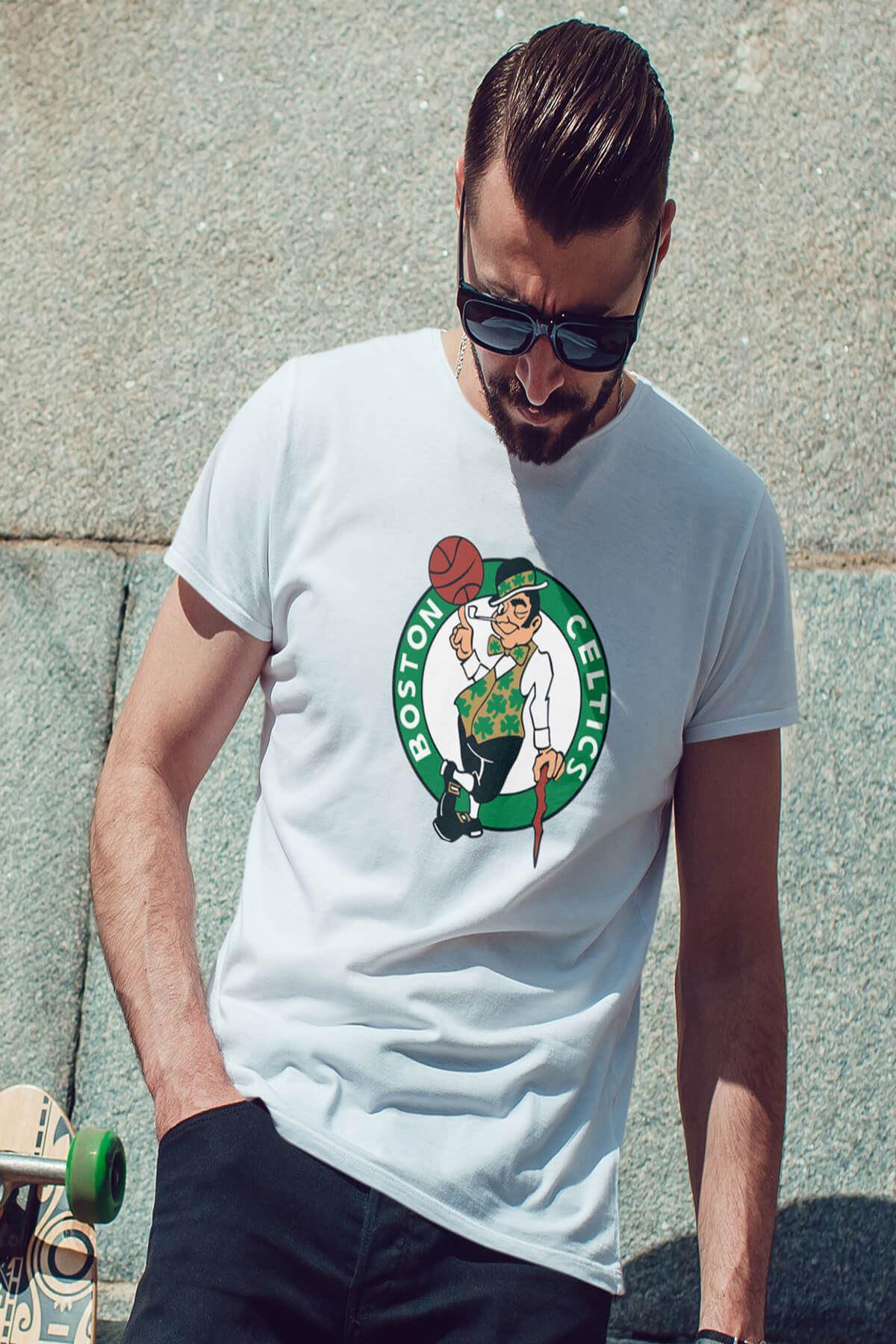 Boston Beyaz Erkek Tshirt - Tişört