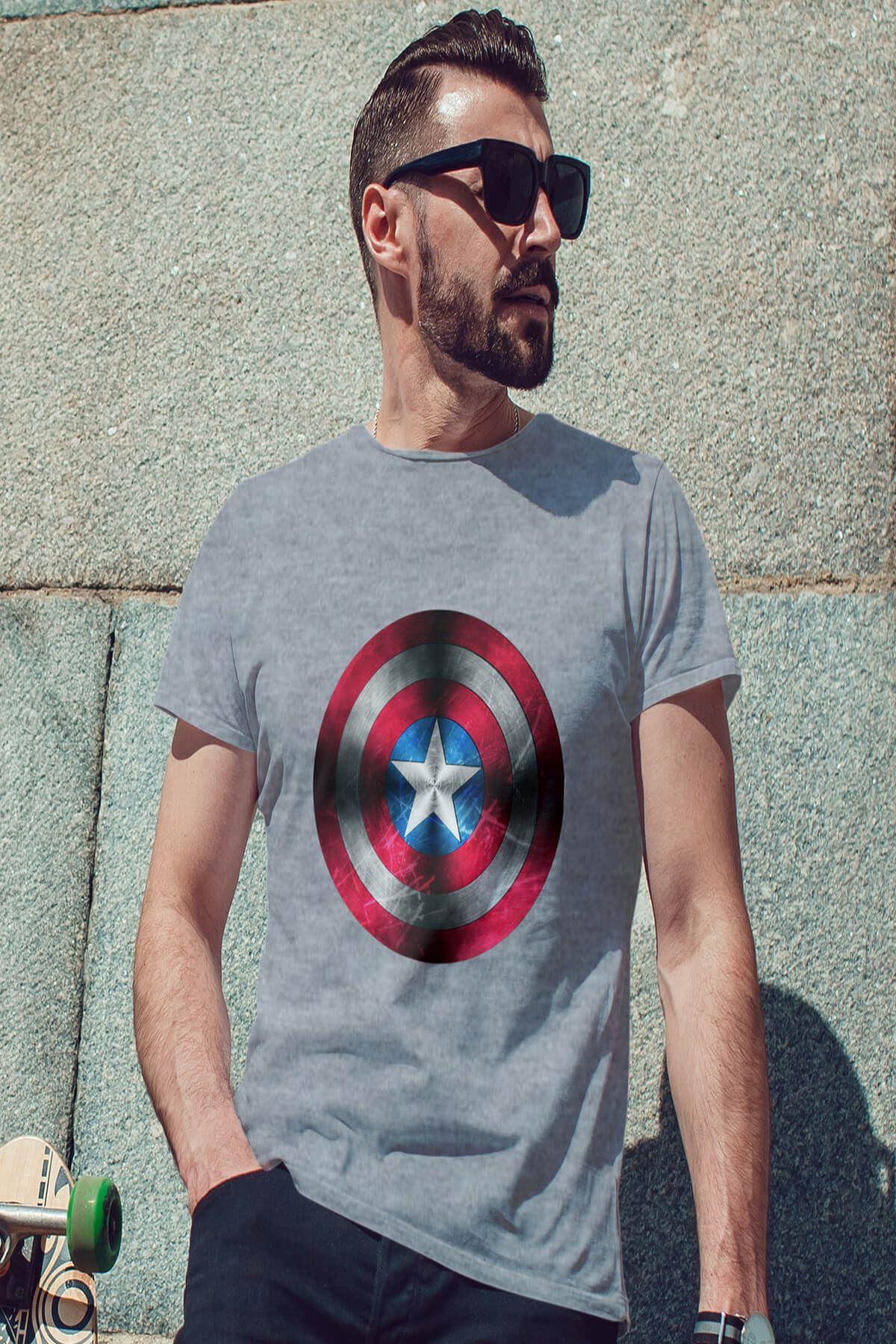 CPT America Gri Erkek Tshirt - Tişört