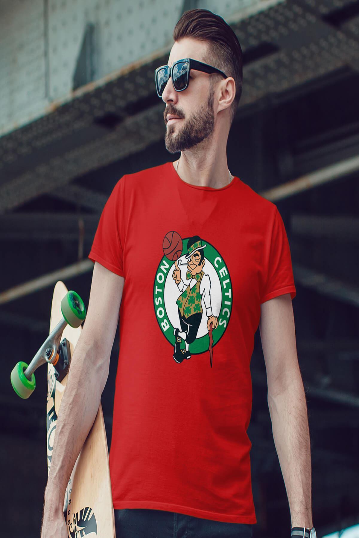 Boston Kırmızı Erkek Tshirt - Tişört