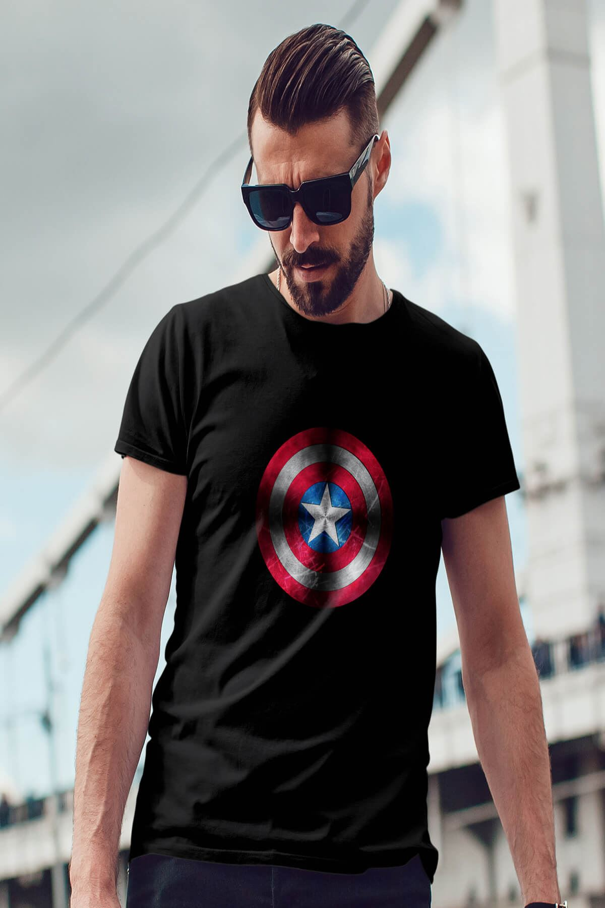 CPT America Siyah Erkek Tshirt - Tişört