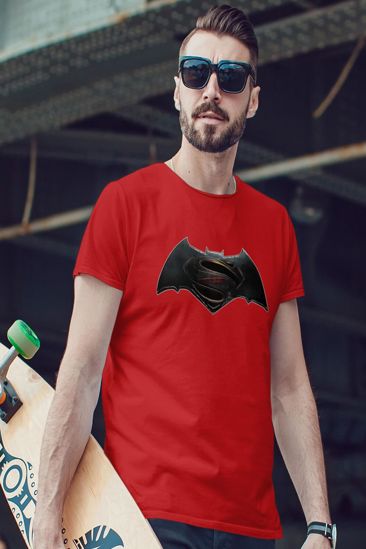 Batman Kırmızı Erkek Tshirt - Tişört