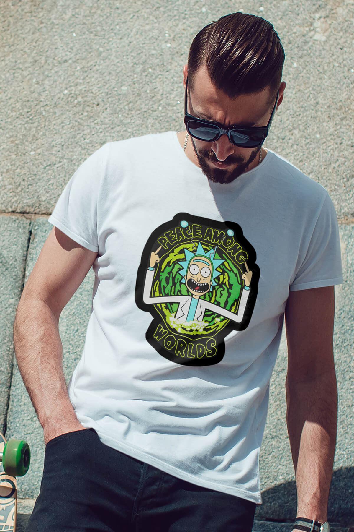 Rick and Morty Beyaz Erkek Tshirt - Tişört