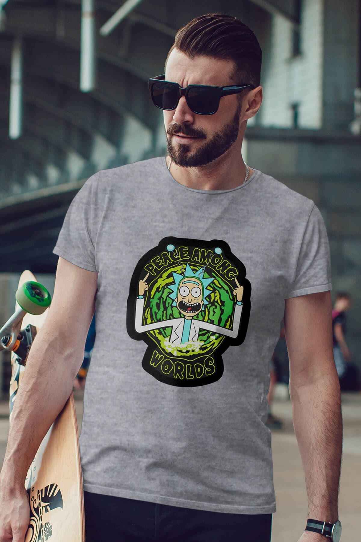 Rick And Morty Gri Erkek Tshirt - Tişört