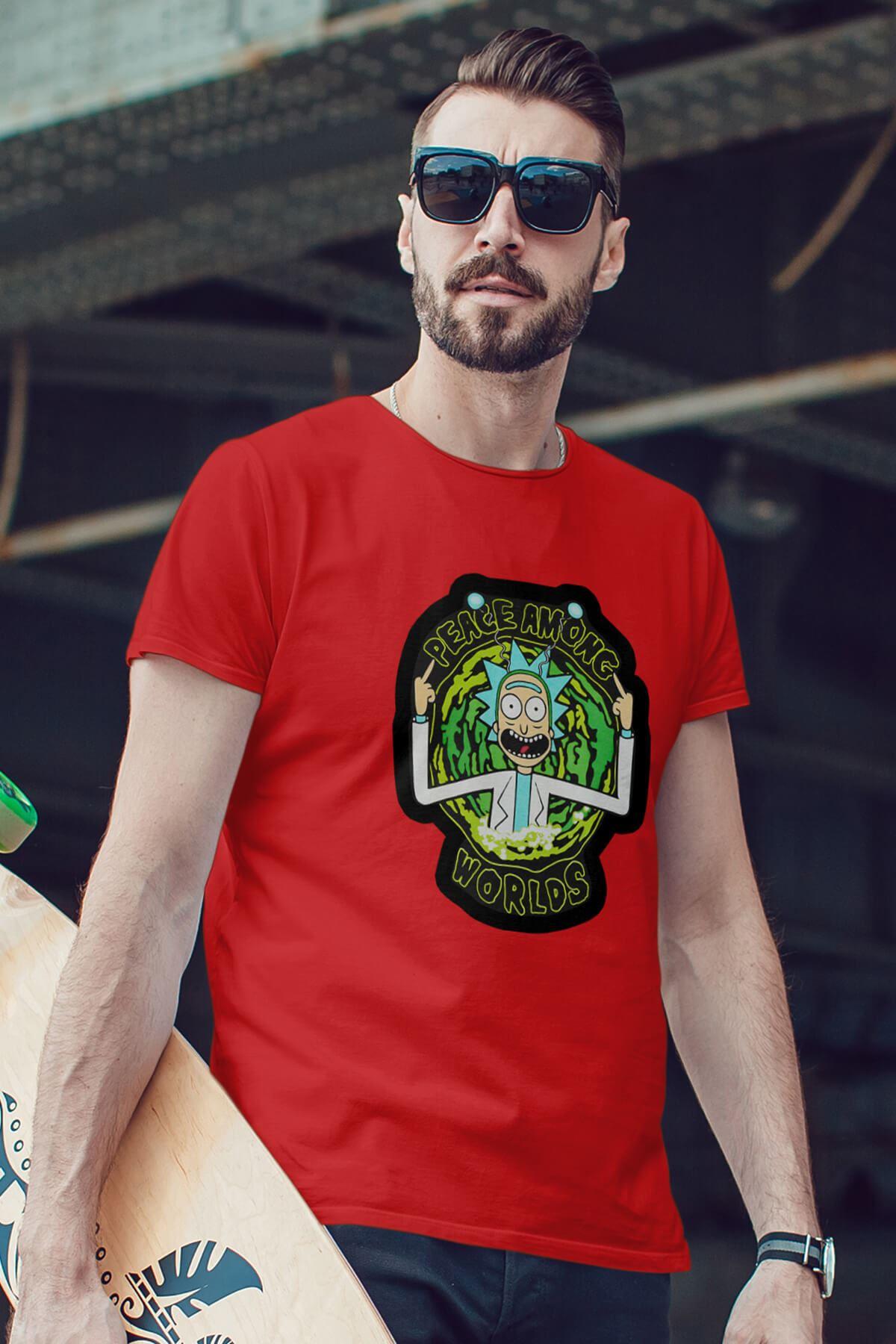 Rick And Morty Kırmızı Erkek Tshirt - Tişört