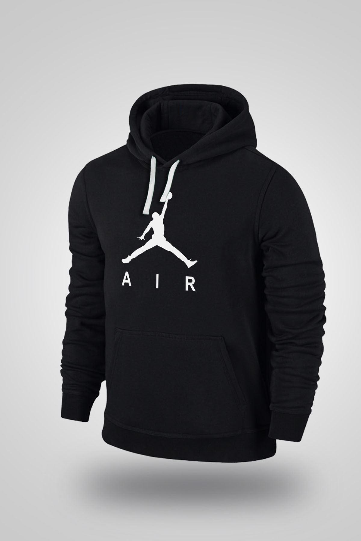 Air Jordan 03 Siyah NBA Erkek Kapşonlu Sweatshirt - Hoodie