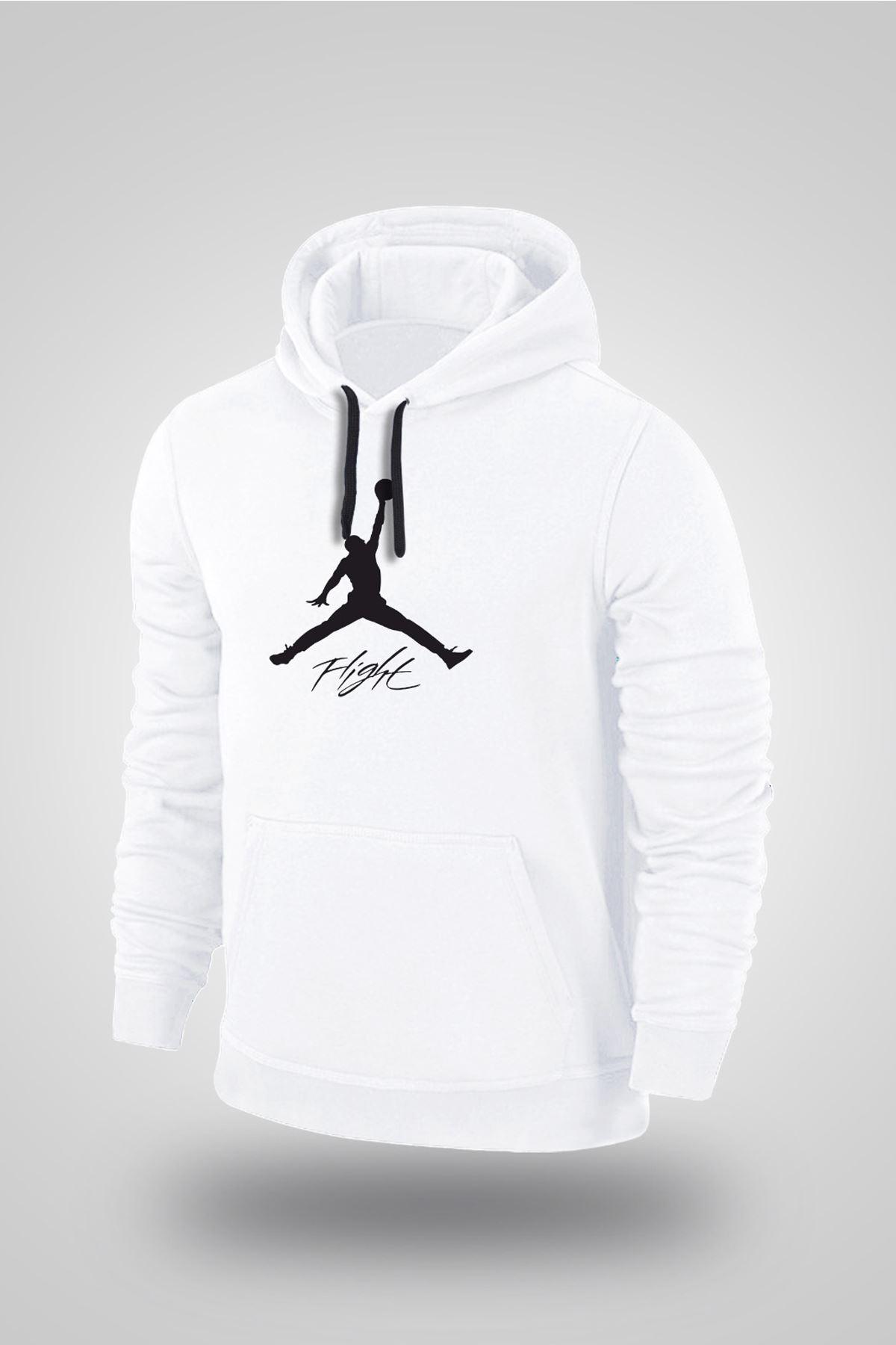 Air Jordan 06 Beyaz NBA Erkek Kapşonlu Sweatshirt - Hoodie