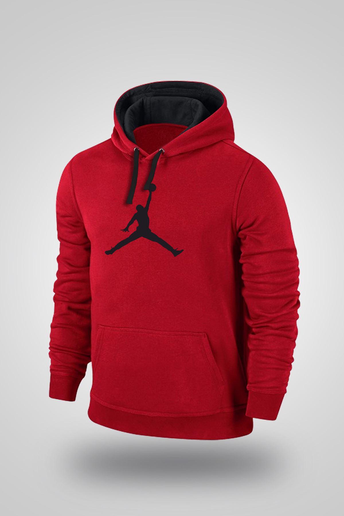 Air Jordan 02 Kırmızı NBA Erkek Kapşonlu Sweatshirt - Hoodie