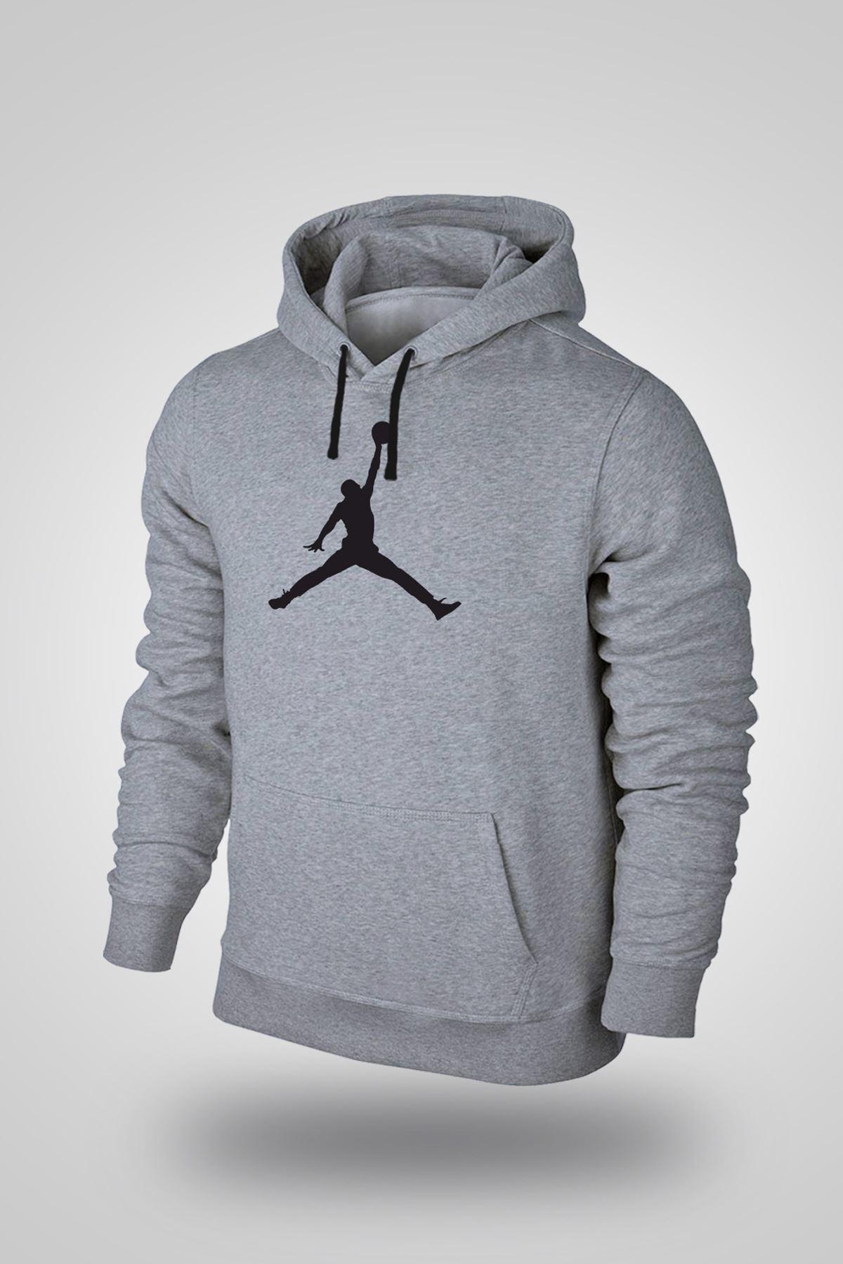 Air Jordan 02 Gri NBA Erkek Kapşonlu Sweatshirt - Hoodie