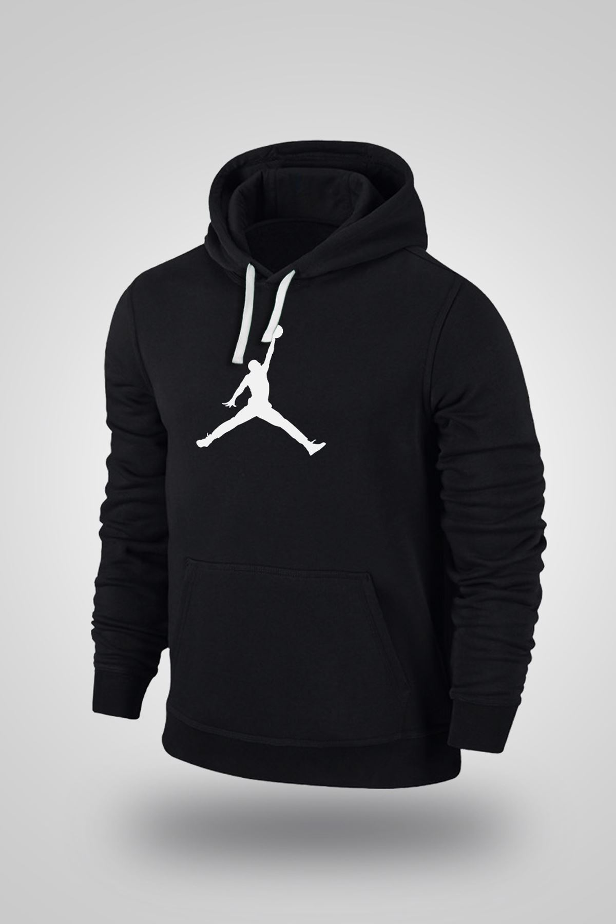 Air Jordan 02 Siyah NBA Erkek Kapşonlu Sweatshirt - Hoodie