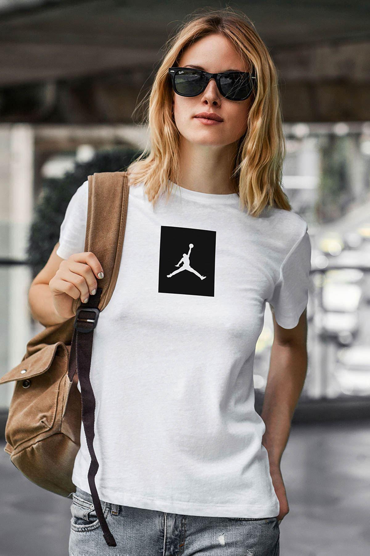 Air Jordan 09 Beyaz NBA Kadın Tshirt - Tişört
