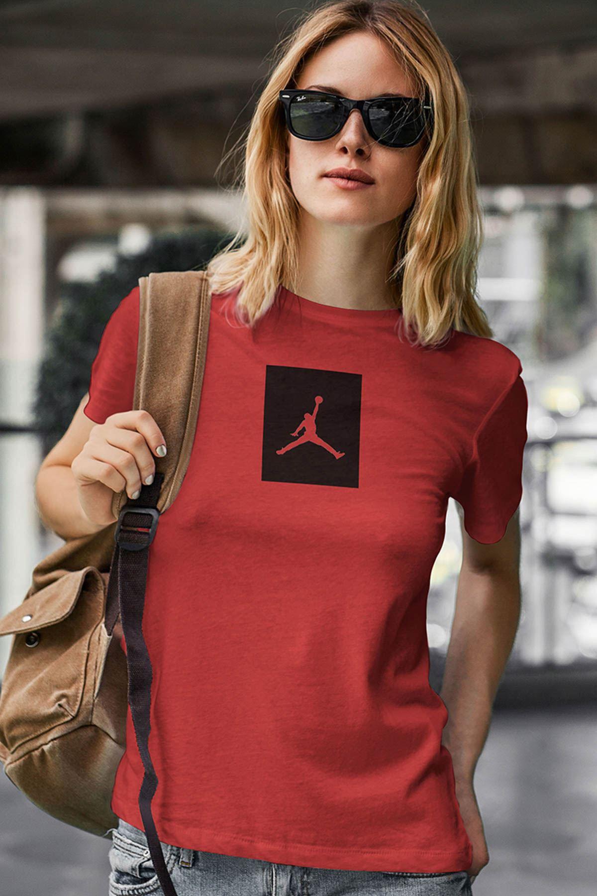Air Jordan 09 Kırmızı NBA Kadın Tshirt - Tişört