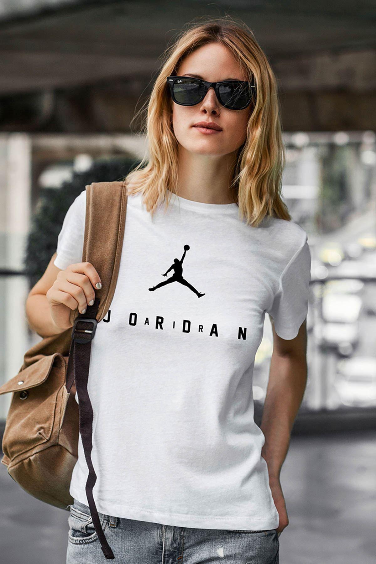 Air Jordan 10 Beyaz NBA Kadın Tshirt - Tişört