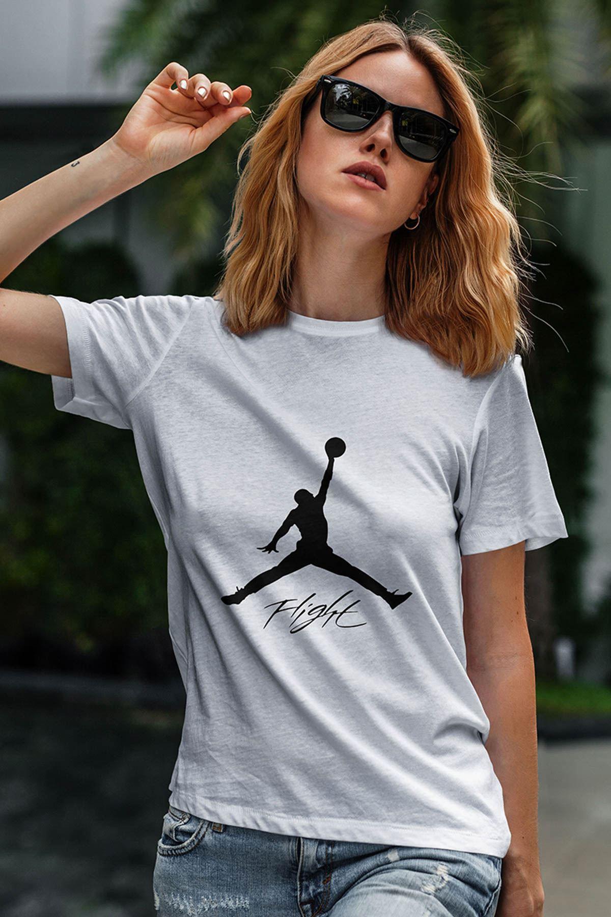 Air Jordan 06 Beyaz NBA Kadın Tshirt - Tişört