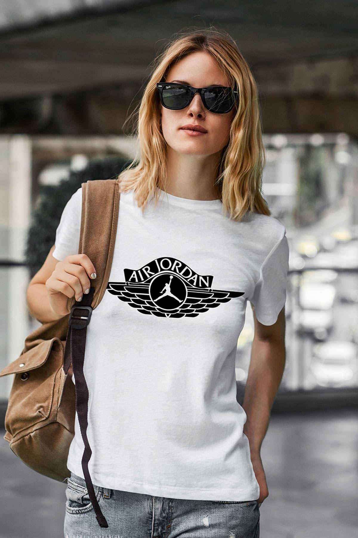 Air Jordan 12 Beyaz NBA Kadın Tshirt - Tişört
