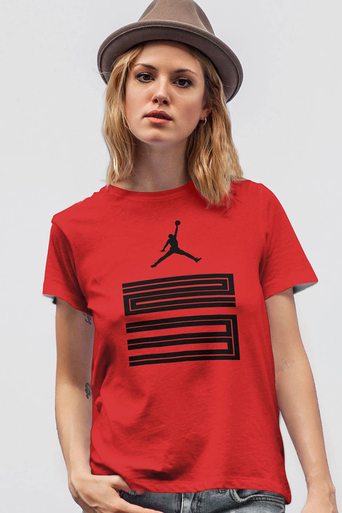 Air Jordan 11 Kırmızı NBA Kadın Tshirt - Tişört