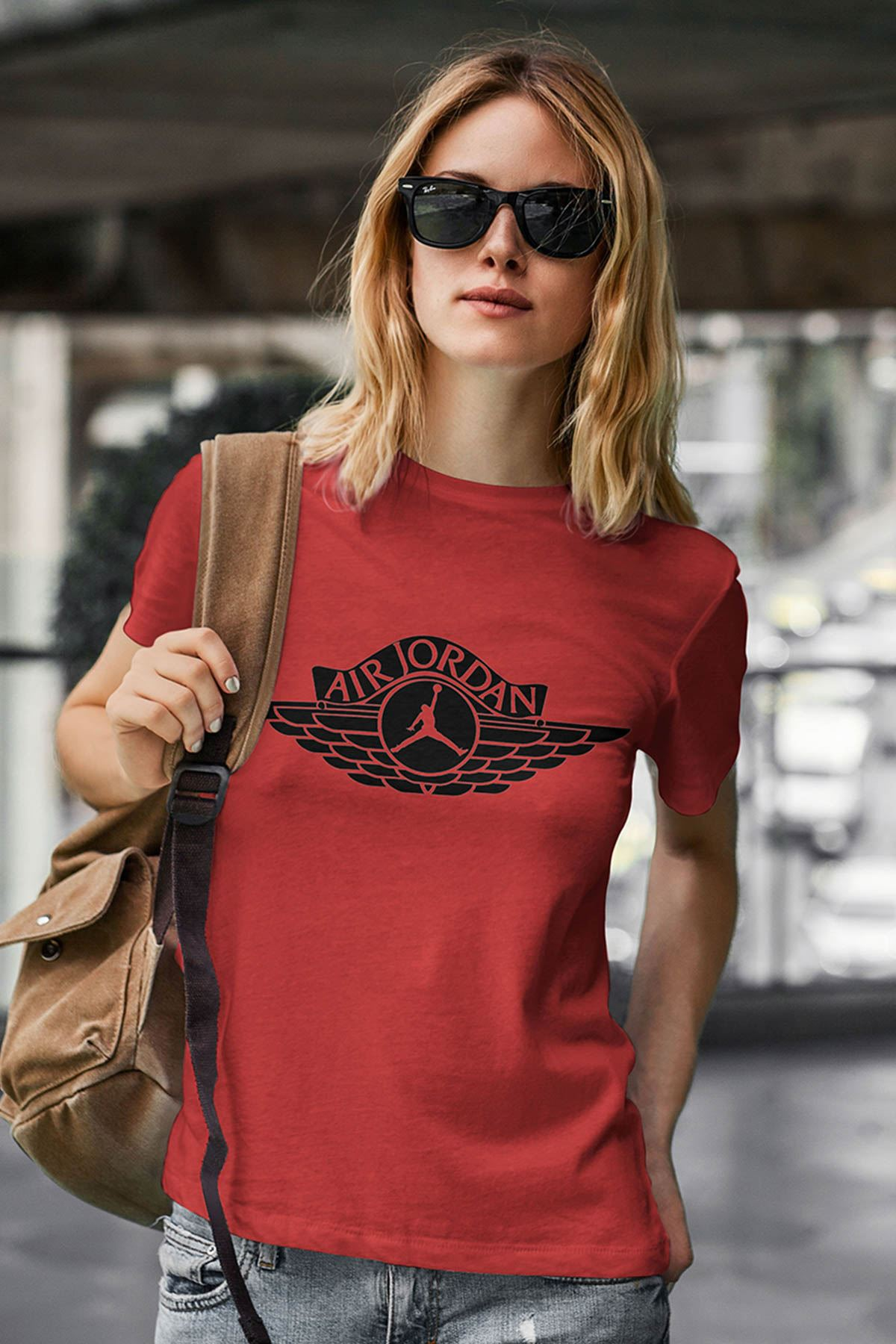 Air Jordan 12 Kırmızı NBA Kadın Tshirt - Tişört