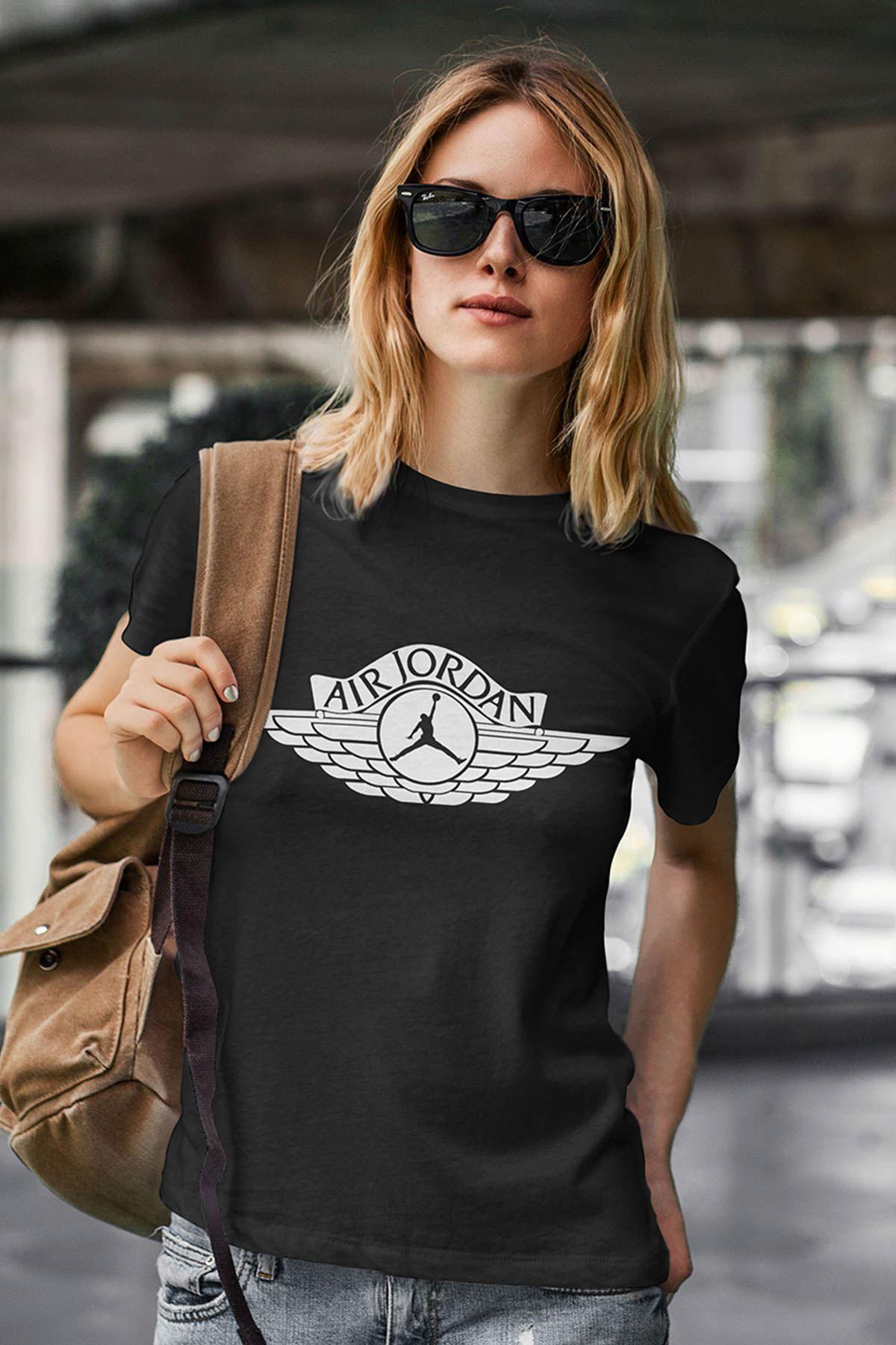Air Jordan 12 Siyah NBA Kadın Tshirt - Tişört