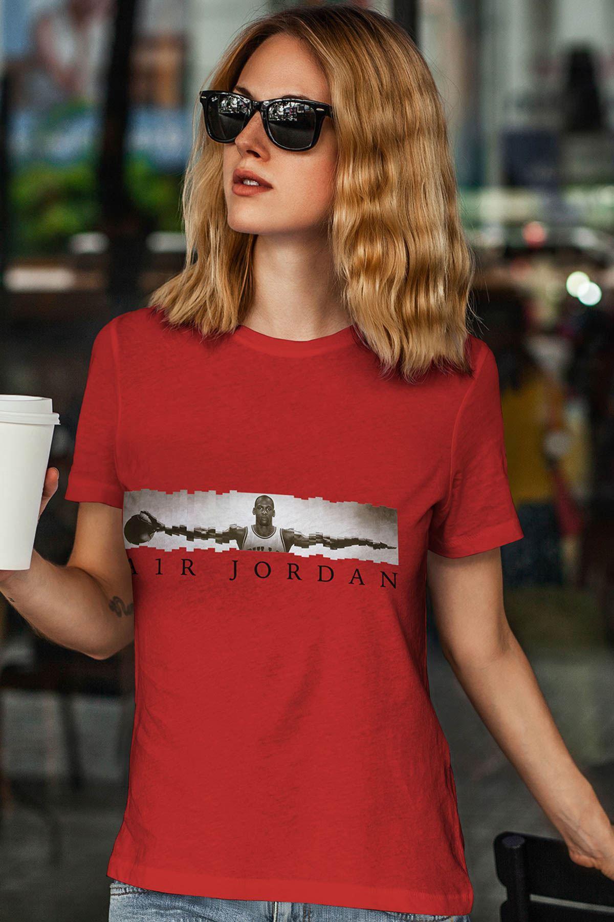 Air Jordan 17 Kırmızı NBA Kadın Tshirt - Tişört