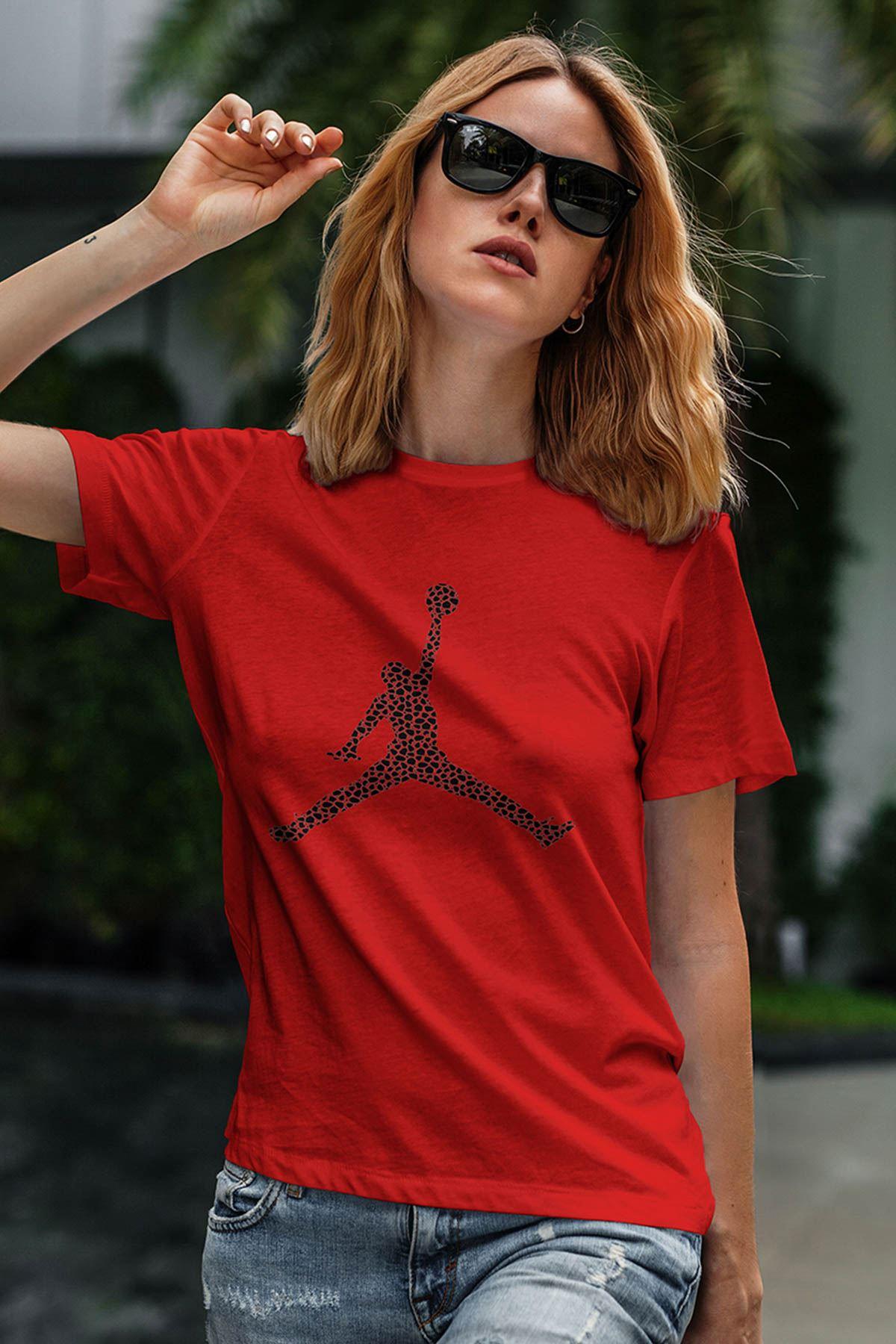 Air Jordan 16 Kırmızı NBA Kadın Tshirt - Tişört