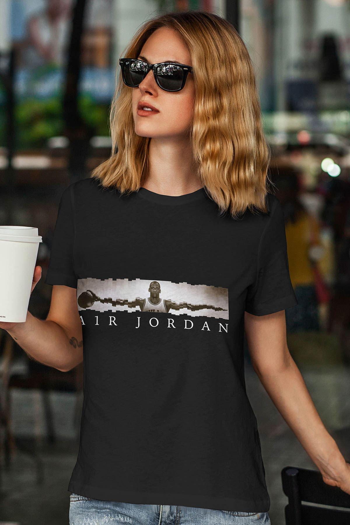 Air Jordan 17 Siyah NBA Kadın Tshirt - Tişört