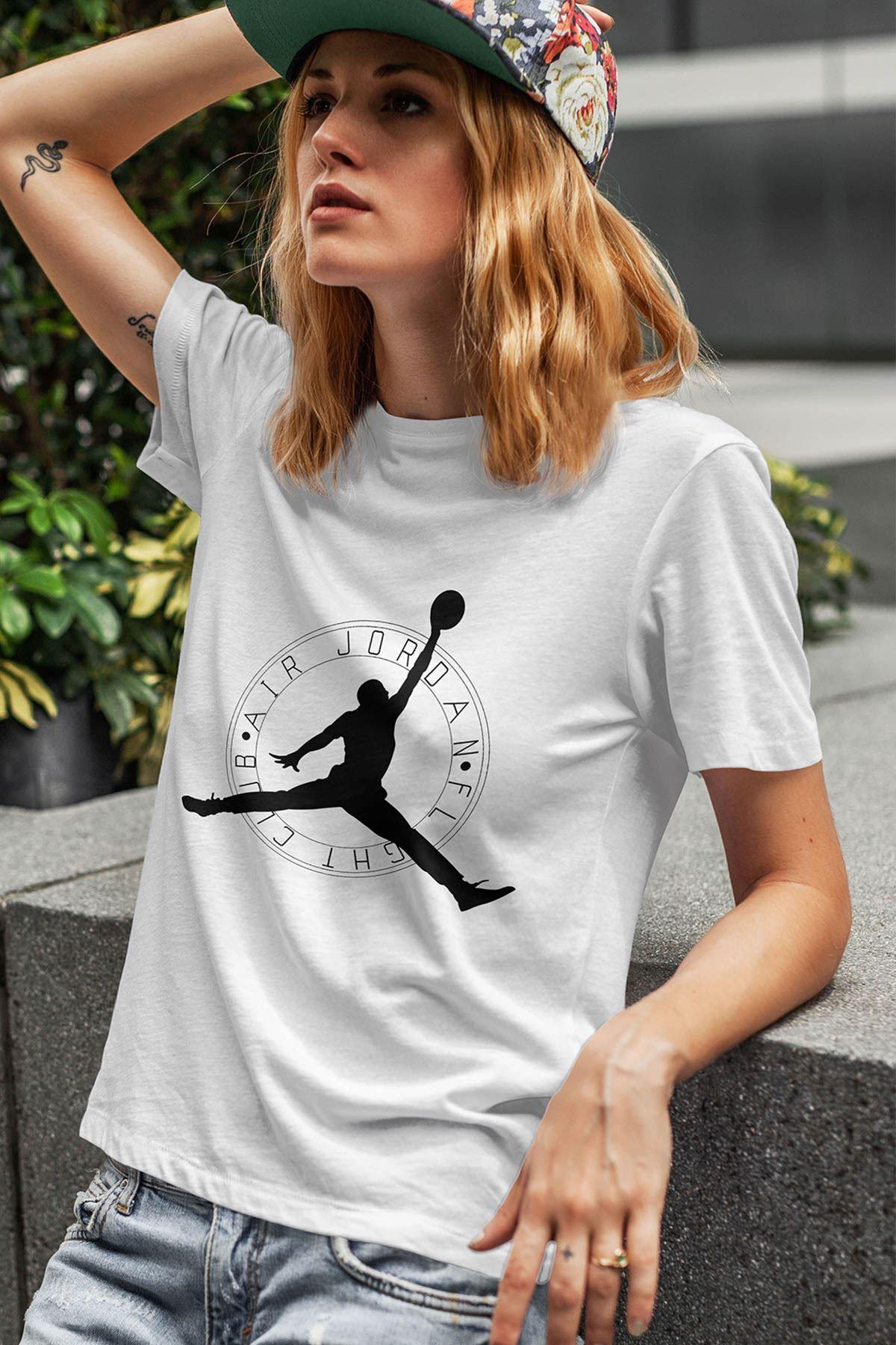 Air Jordan 19 Beyaz NBA Kadın Tshirt - Tişört