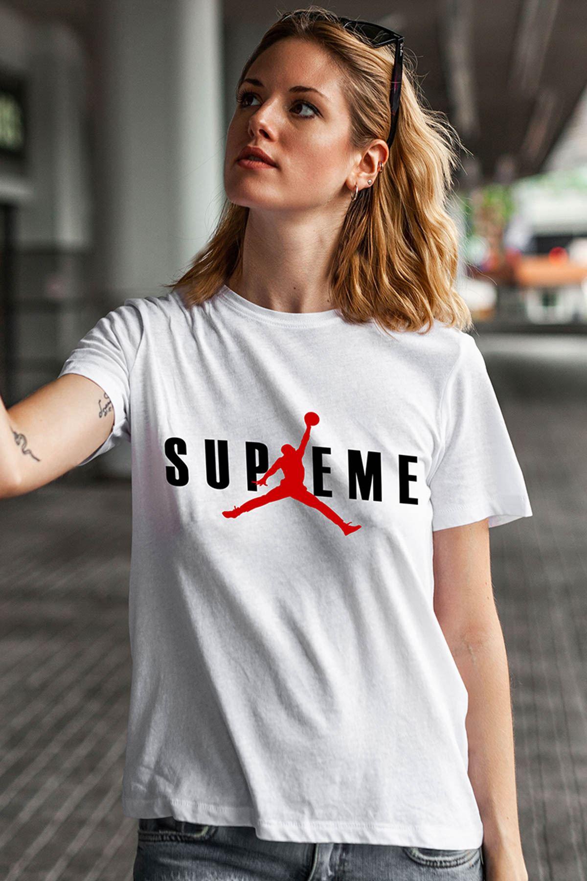 Air Jordan 21 Beyaz NBA Kadın Tshirt - Tişört
