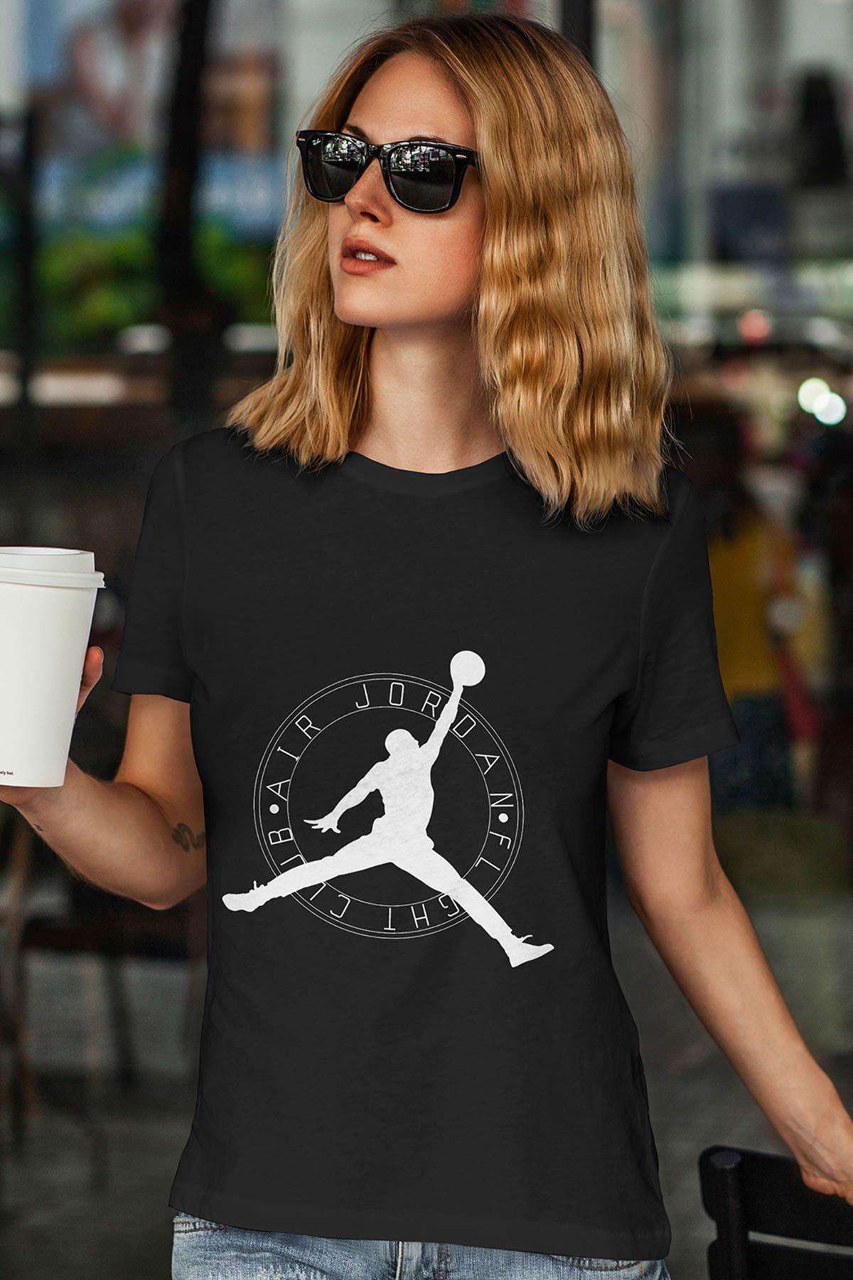 Air Jordan 19 Siyah NBA Kadın Tshirt - Tişört
