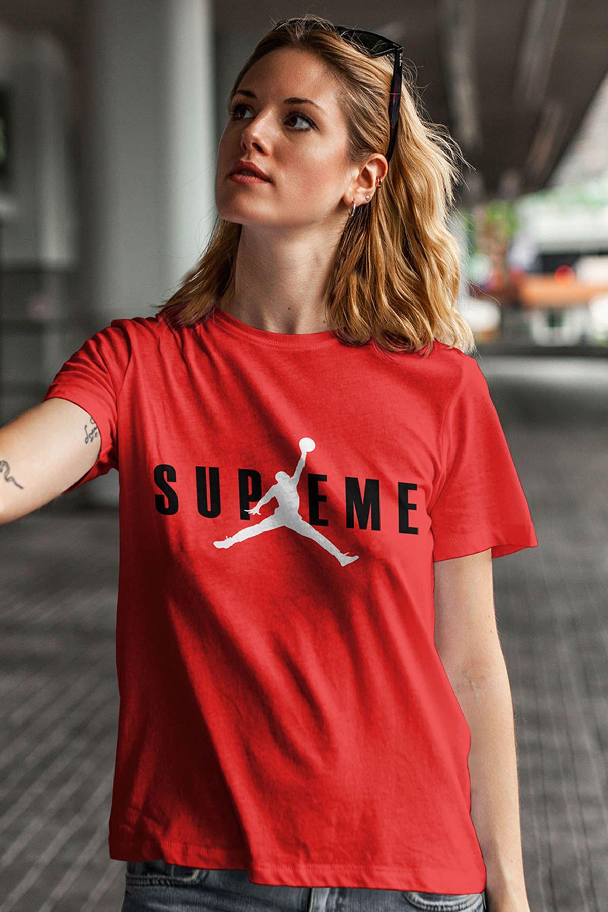 Air Jordan 21 Kırmızı NBA Kadın Tshirt - Tişört