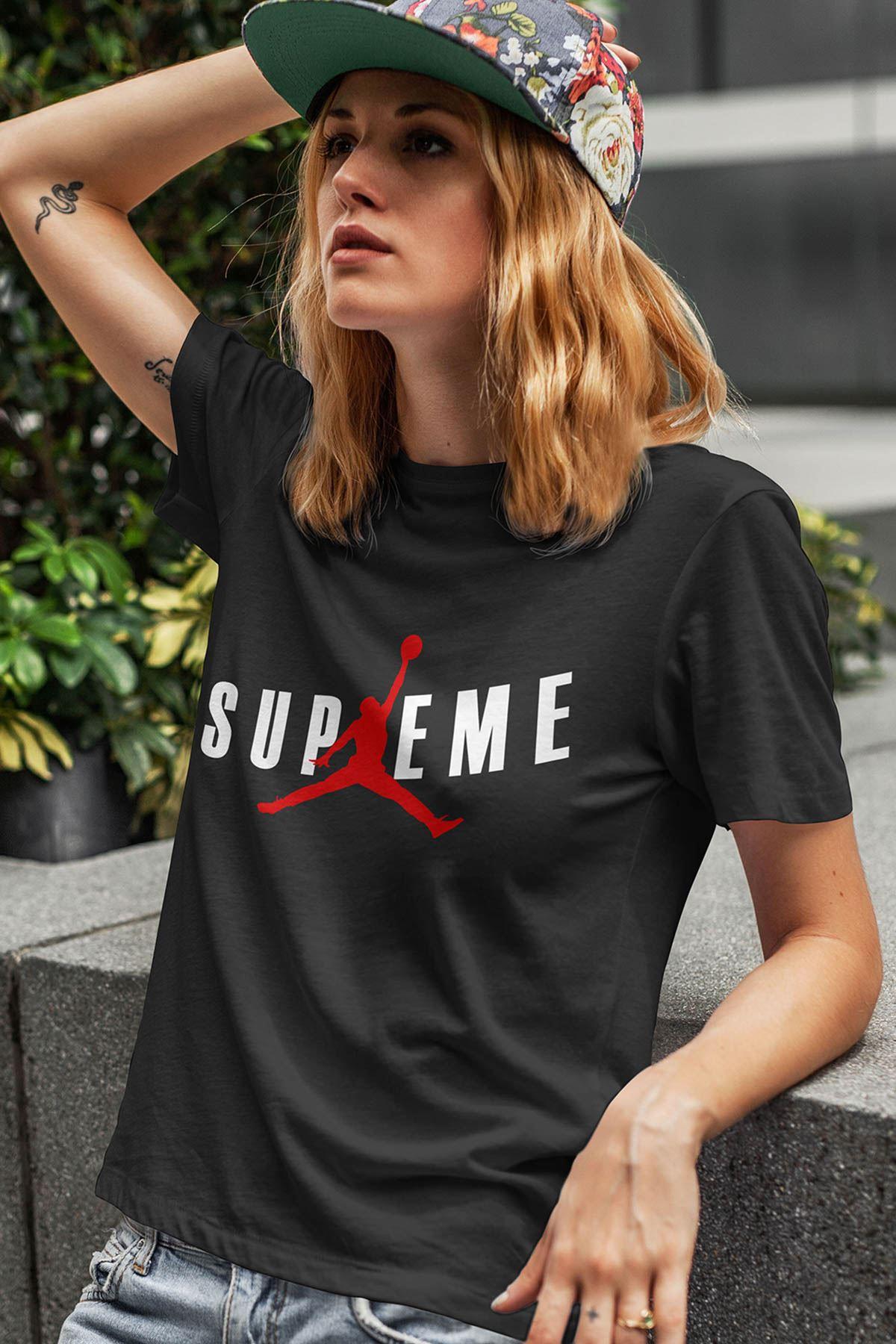Air Jordan 21 Siyah NBA Kadın Tshirt - Tişört
