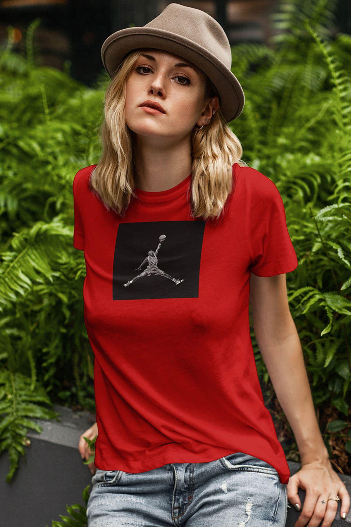 Air Jordan 32 Kırmızı NBA Kadın Tshirt - Tişört