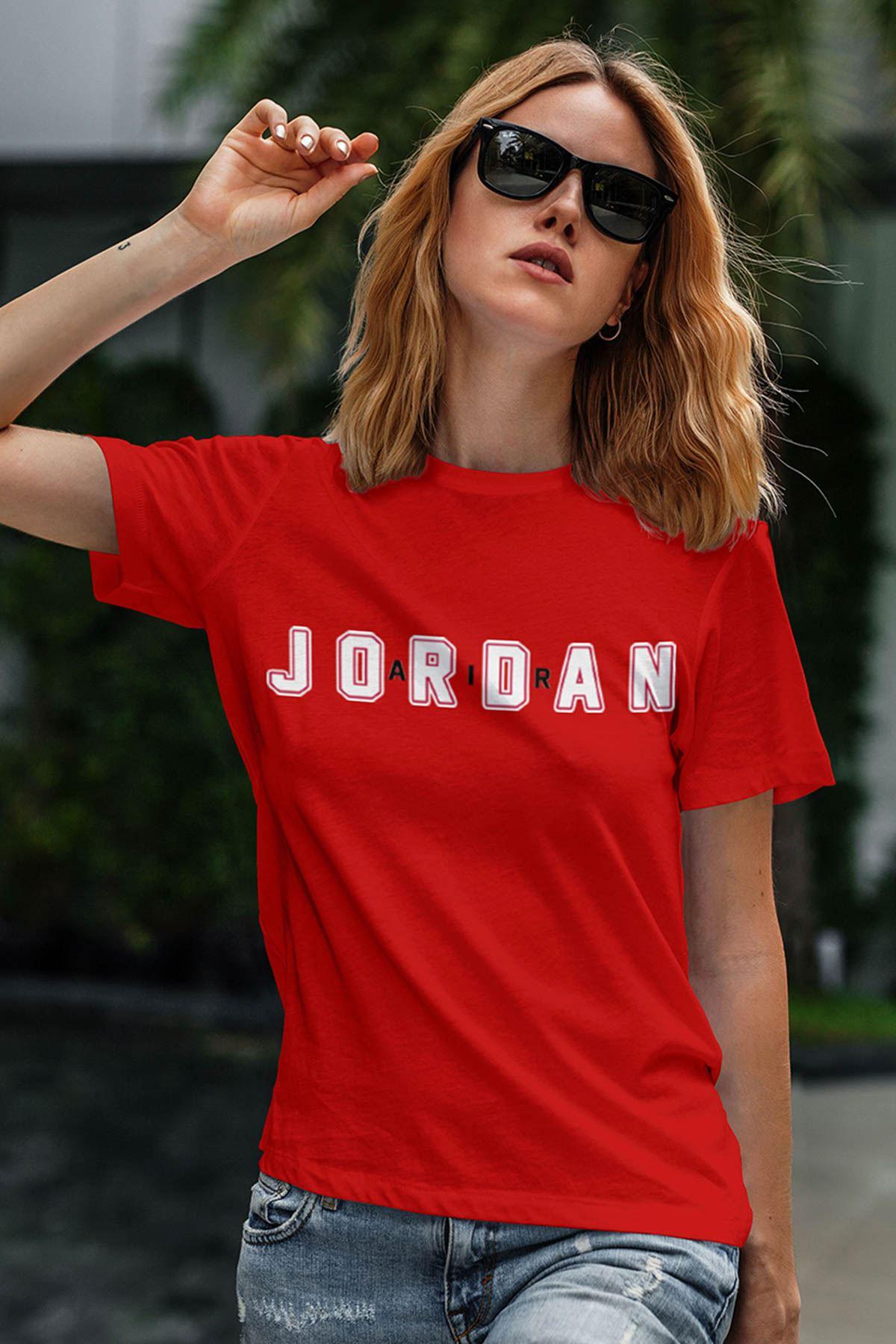 Air Jordan 34 Kırmızı NBA Kadın Tshirt - Tişört