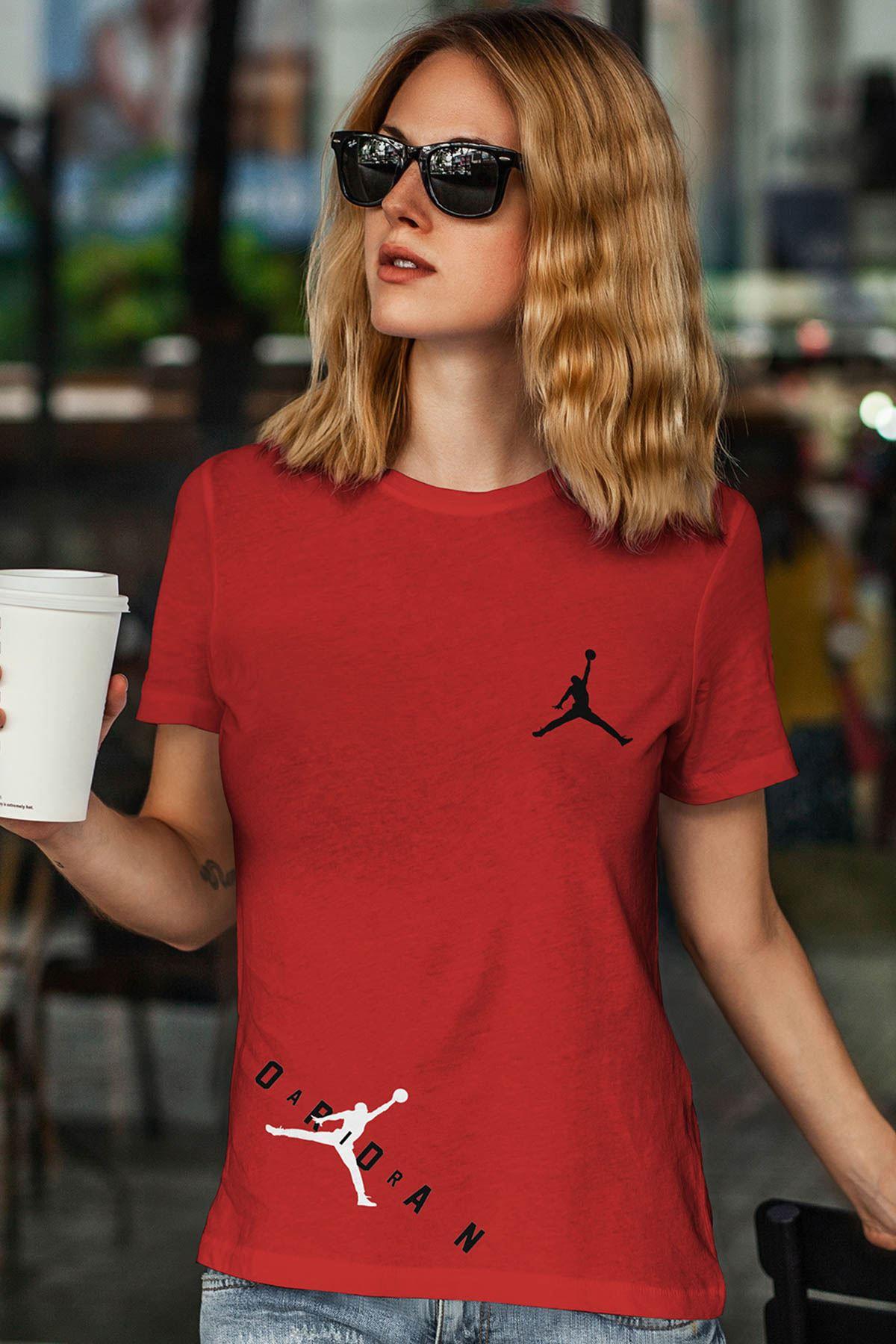 Air Jordan 23 Kırmızı NBA Kadın Tshirt - Tişört