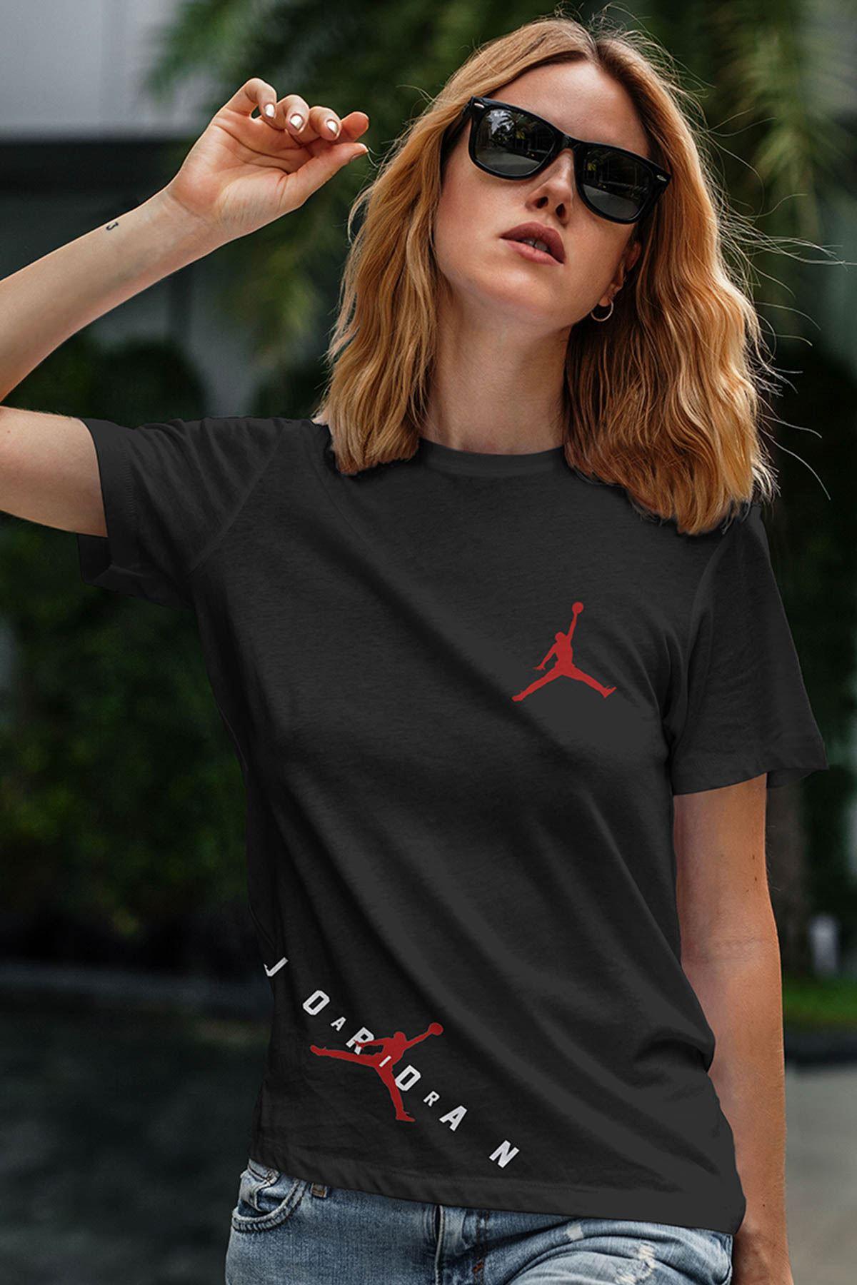 Air Jordan 23 Siyah NBA Kadın Tshirt - Tişört