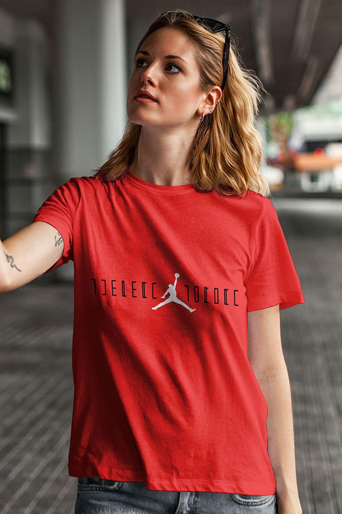 Air Jordan 24 Kırmızı NBA Kadın Tshirt - Tişört