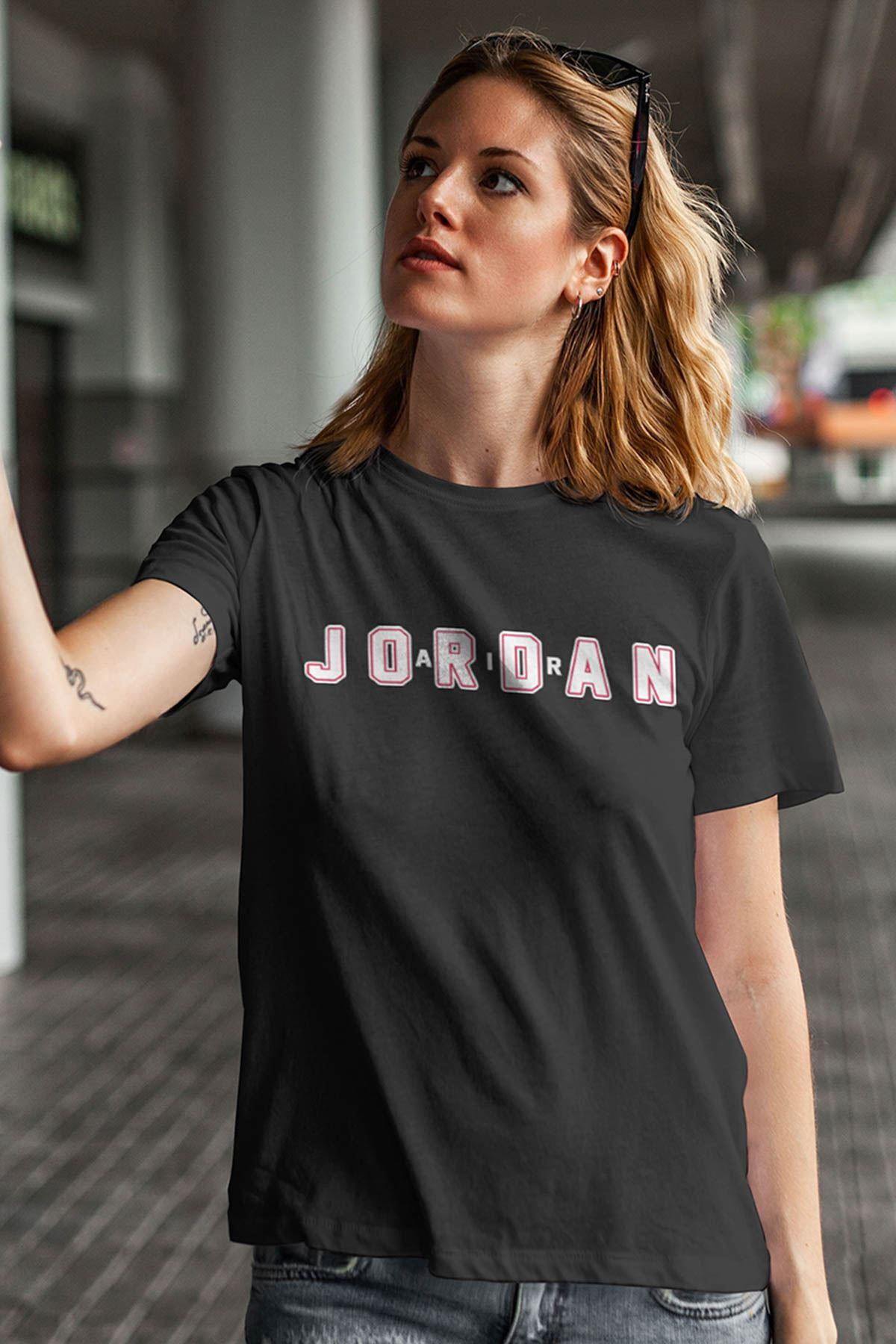 Air Jordan 34 Siyah NBA Kadın Tshirt - Tişört