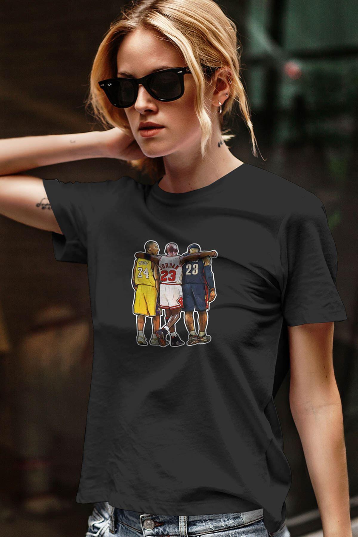Air Jordan 40 Siyah NBA Kadın Tshirt - Tişört