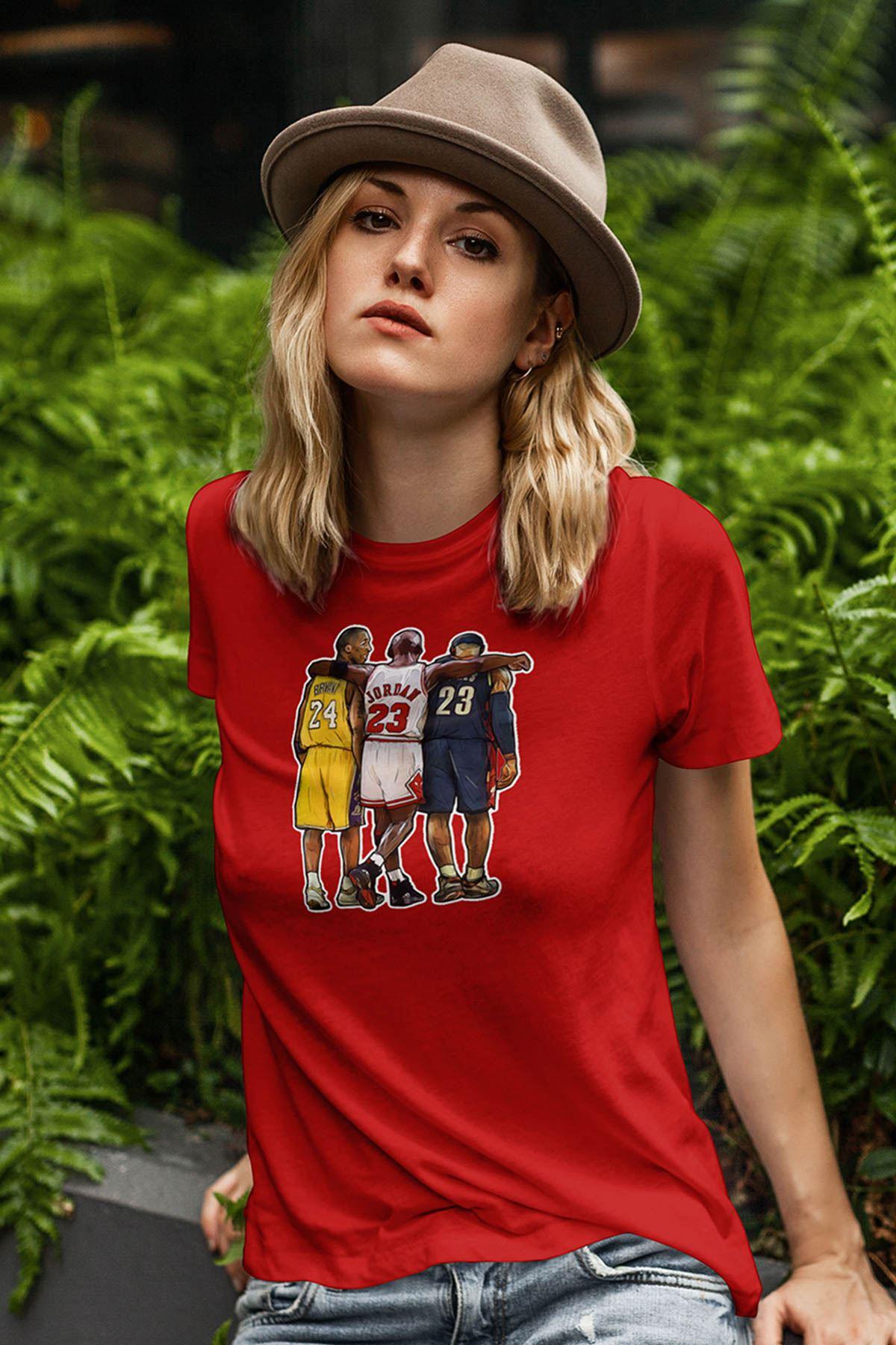 Air Jordan 40 Kırmızı NBA Kadın Tshirt - Tişört