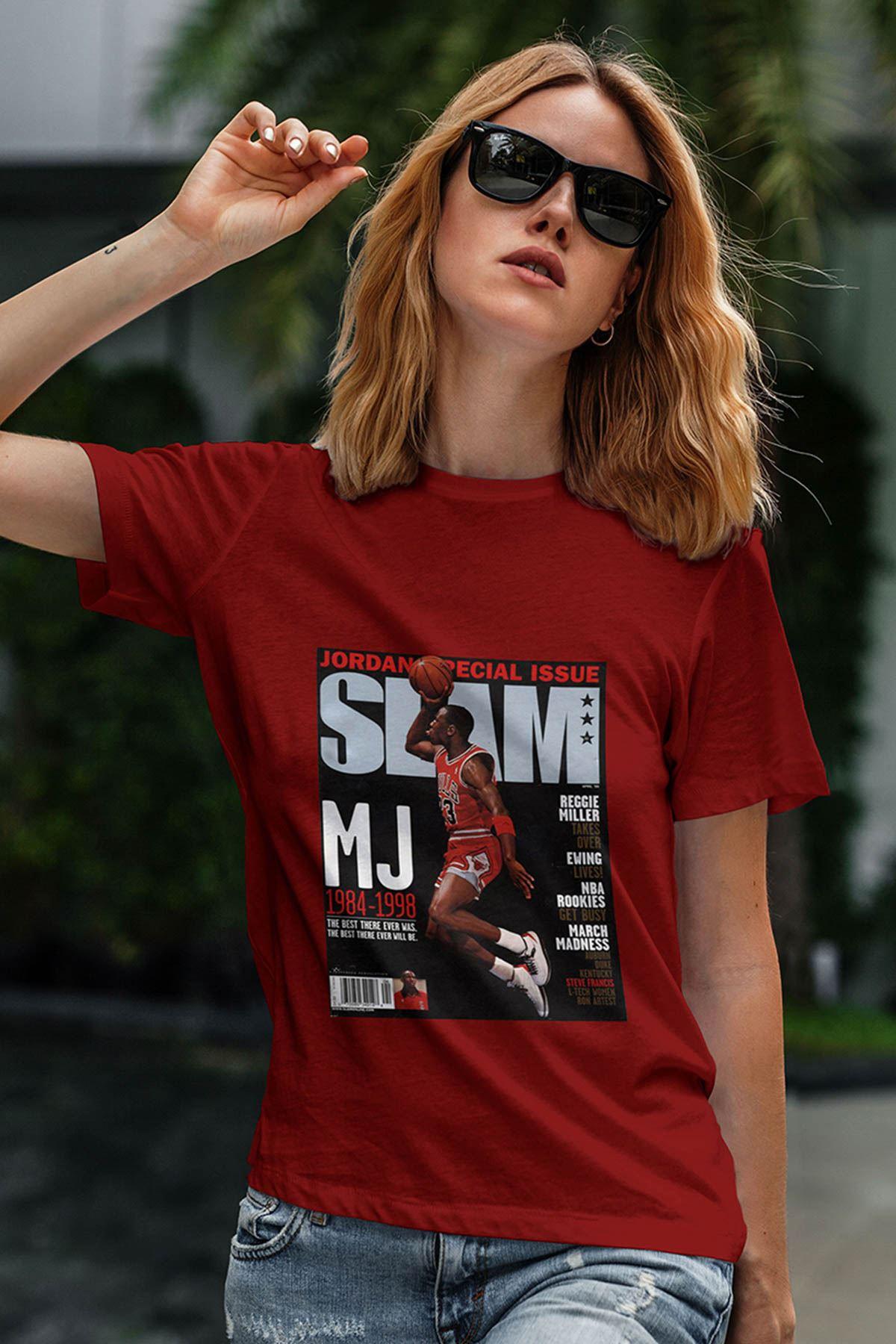 Air Jordan 41 Kırmızı NBA Kadın Tshirt - Tişört