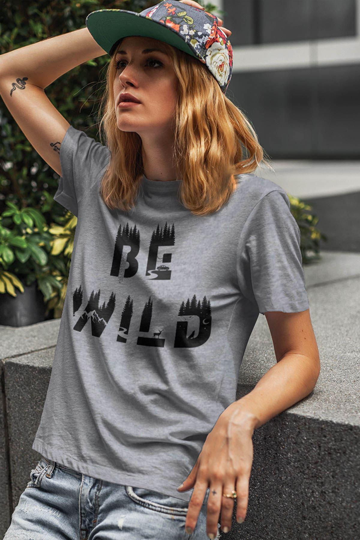 Be Wild Gri Outdoor Kadın Tshirt - Tişört
