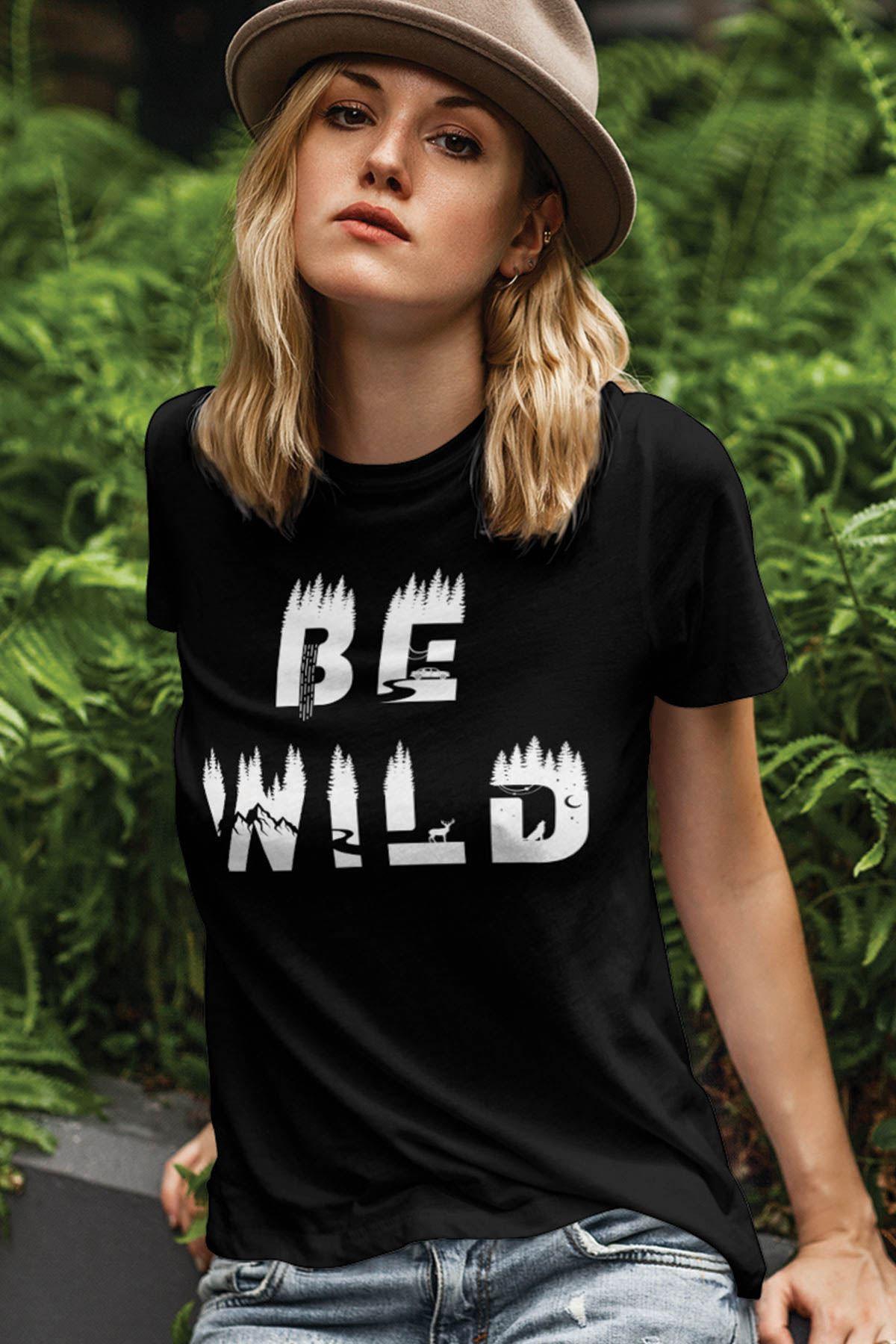 Be Wild Siyah Outdoor Kadın Tshirt - Tişört