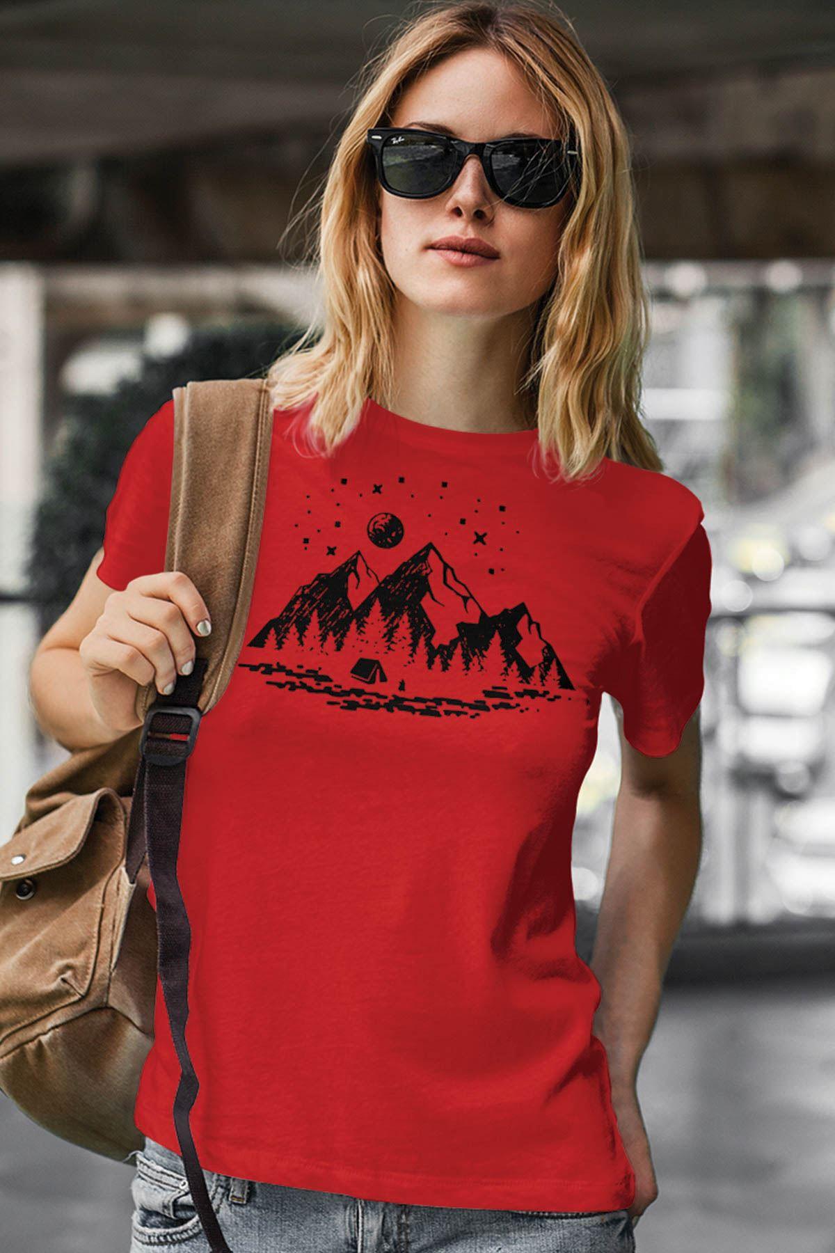 Camping Kırmızı Outdoor Kadın Tshirt - Tişört