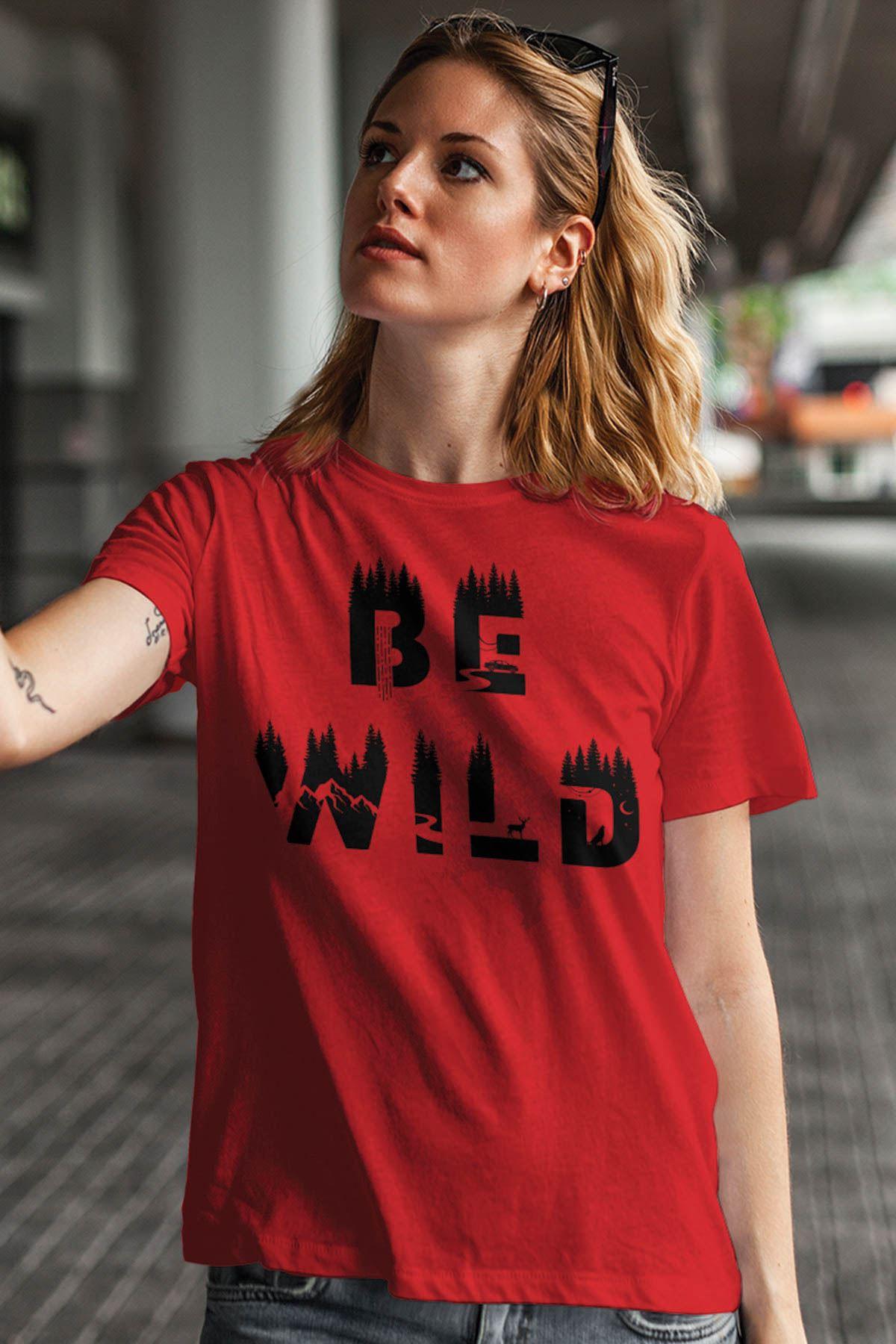 Be Wild Kırmızı Outdoor Kadın Tshirt - Tişört