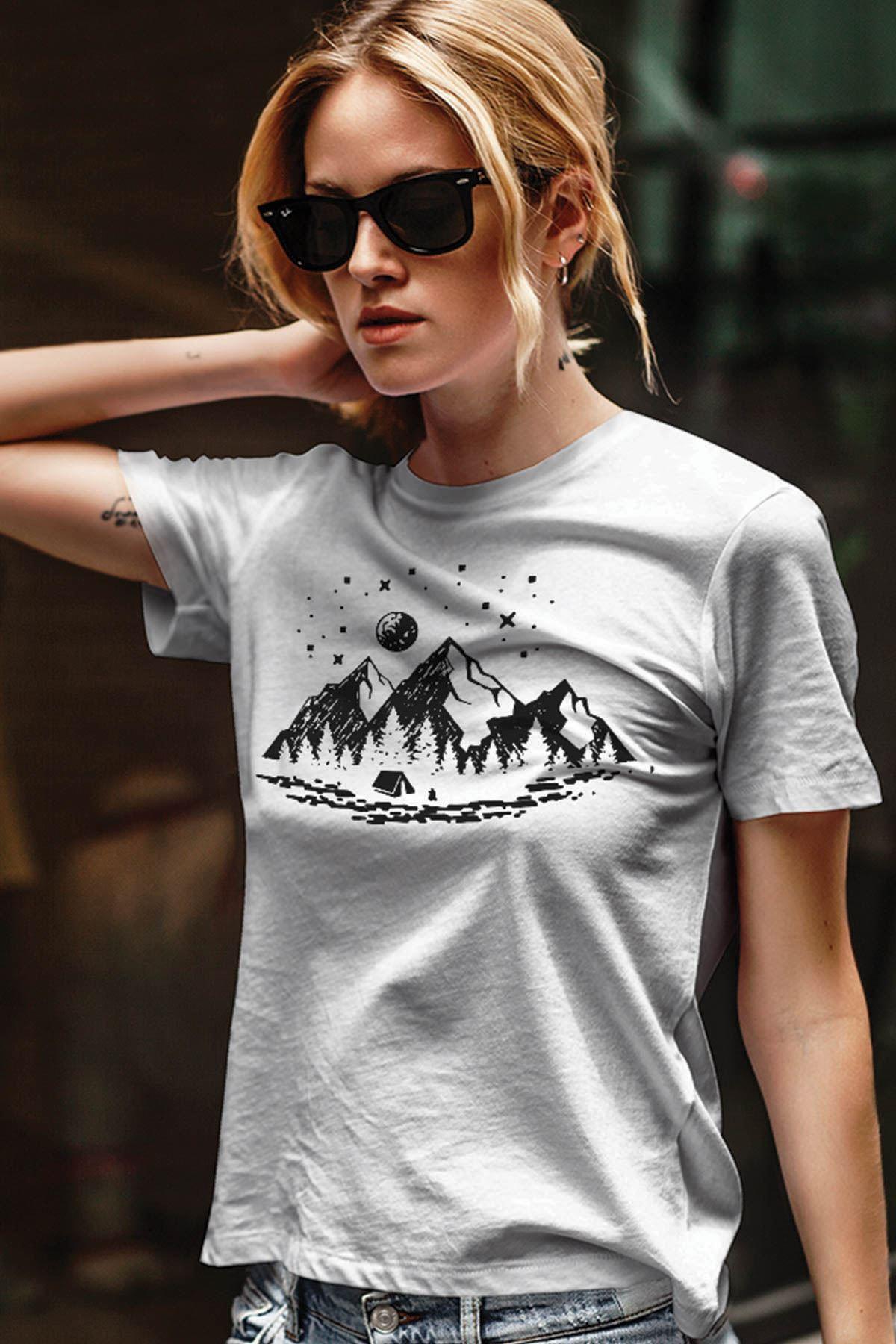 Camping Beyaz Outdoor Kadın Tshirt - Tişört