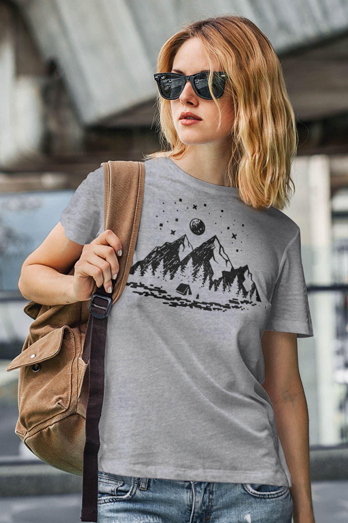 Camping Gri Outdoor Kadın Tshirt - Tişört