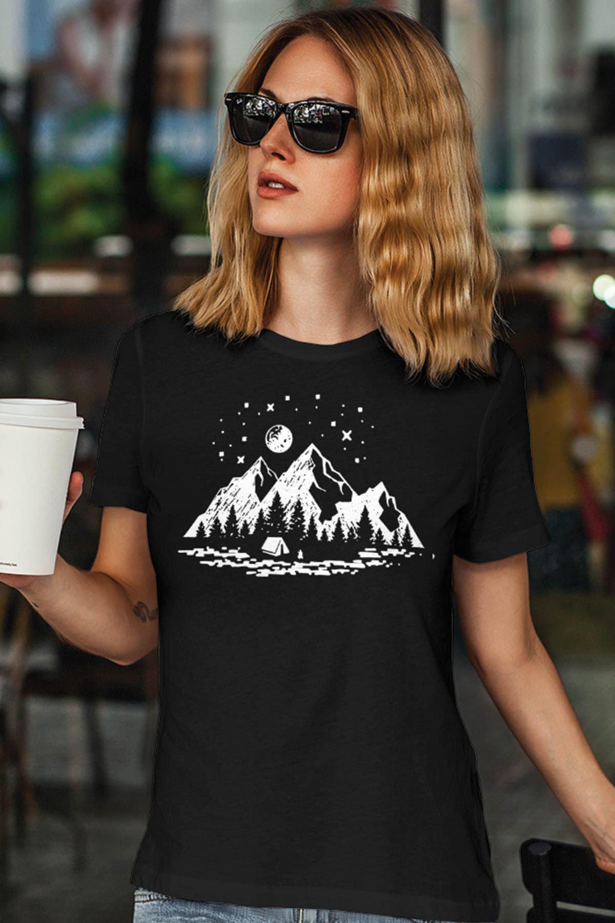 Camping Siyah Outdoor Kadın Tshirt - Tişört