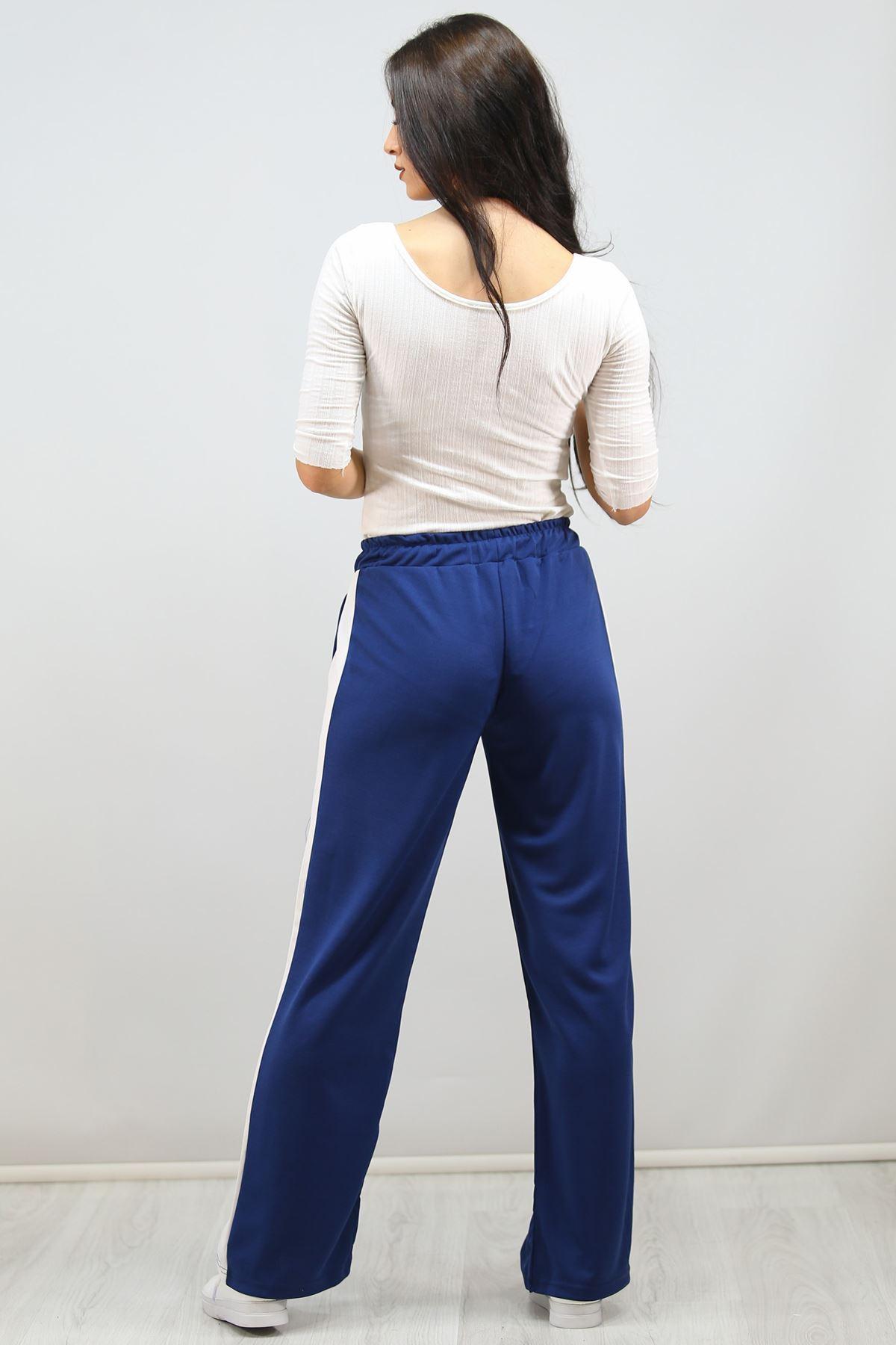 Yanı Şeritli Bol Paça Pantolon Mavi - 3055.150.