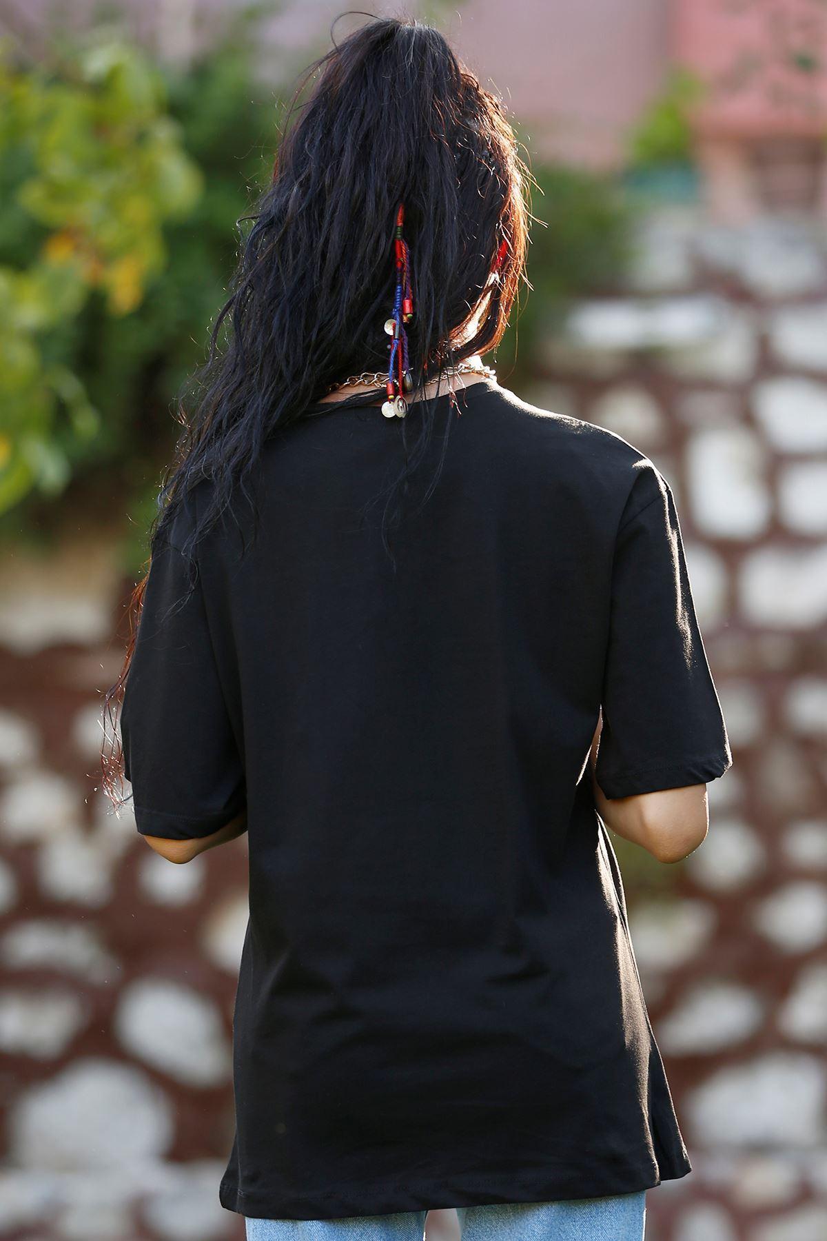 Baskılı Tişört Siyah - 3421.222.