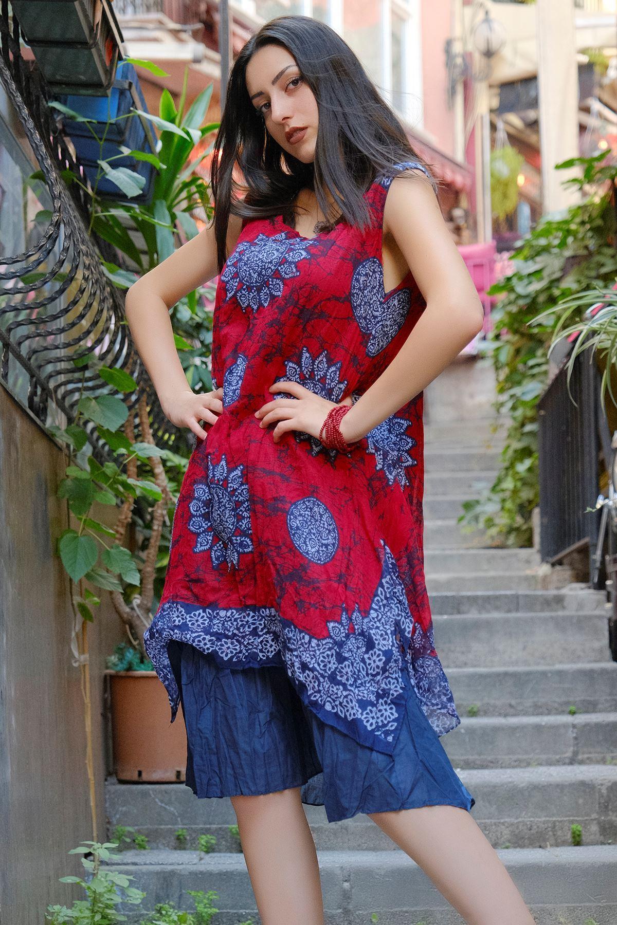 Kolsuz Tülbent Elbise Kırmızılaci - 8001.323.
