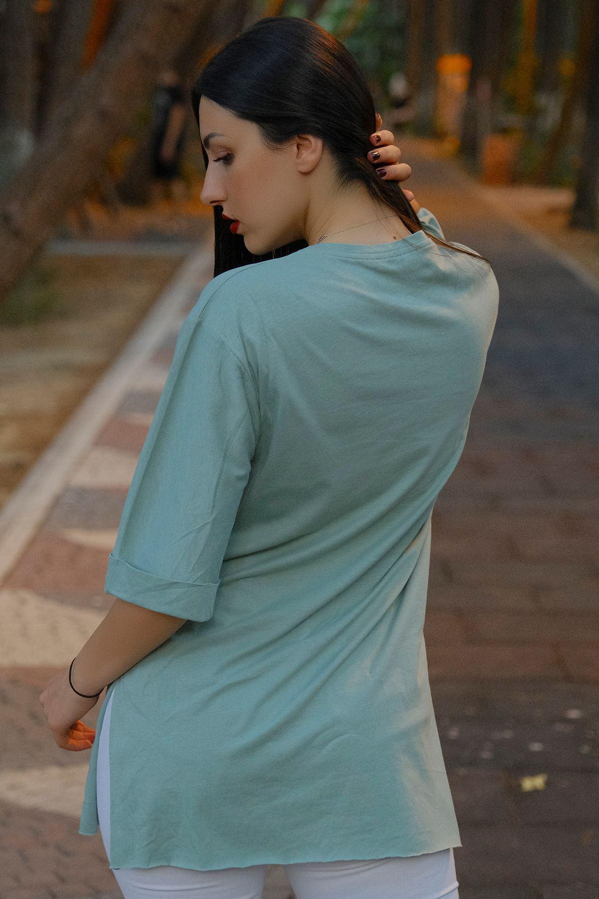 Kız Baskılı Tunik Mint - 8016.994.